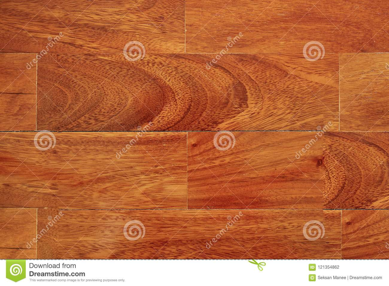 Parquet Wood Flooring With Clear Coat Shiny Stock Photo