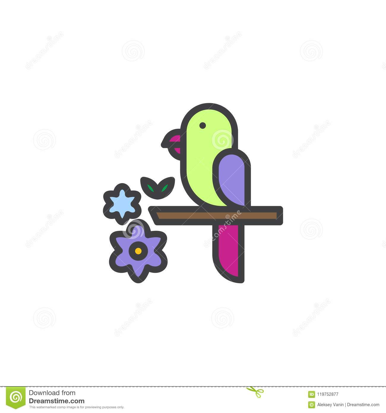 Parrot On A Branch Filled Outline Icon Stock Vector