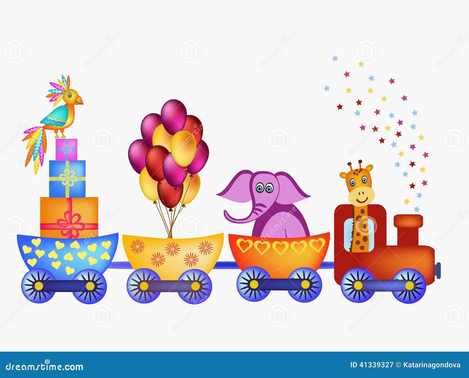 Parrot, Giraffe, Elephant In Train Frame Illustration 41339327 ...
