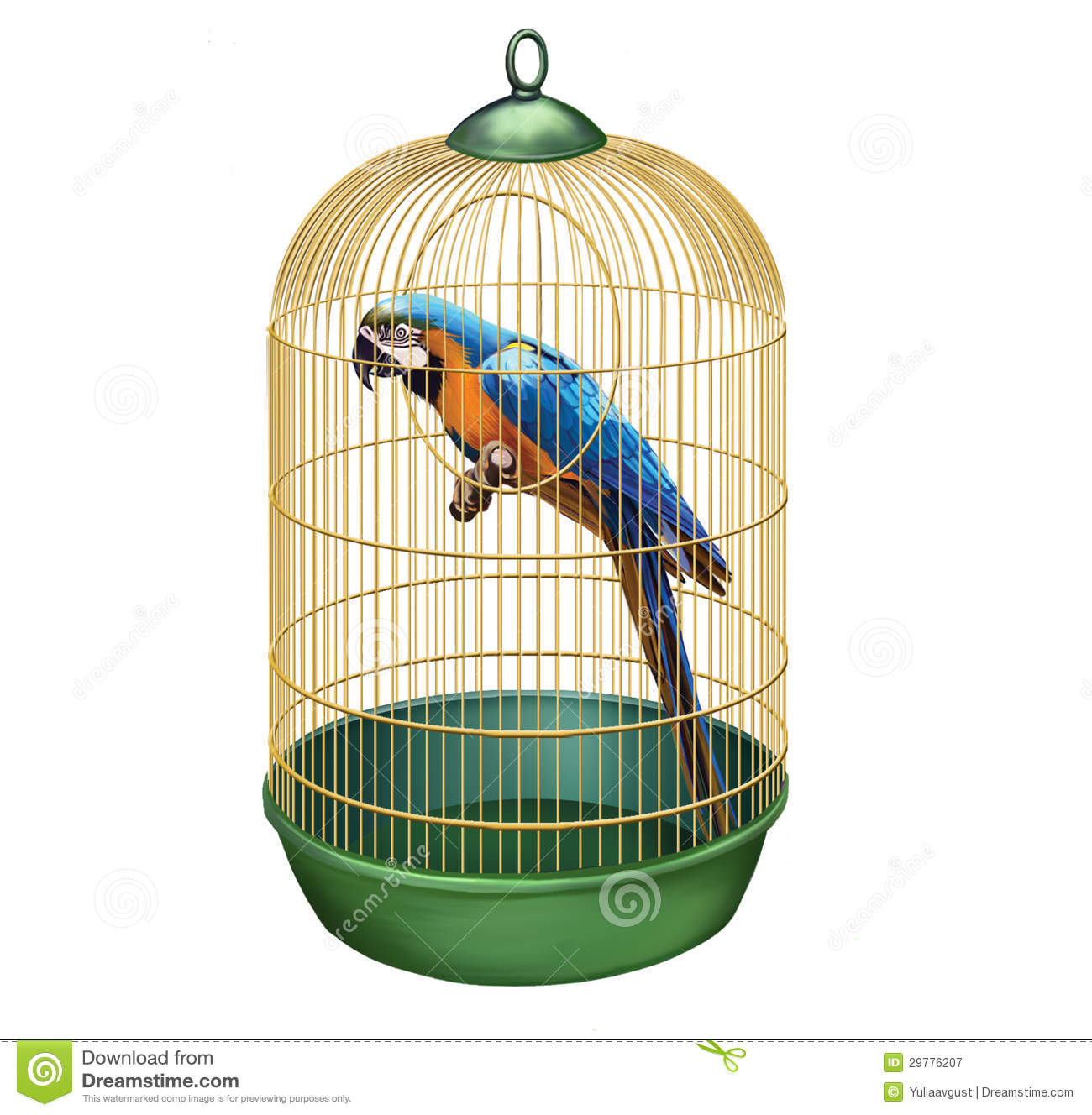 Royalty Free Stock Photography: Parrot in a retro cage. macaw in bird ...