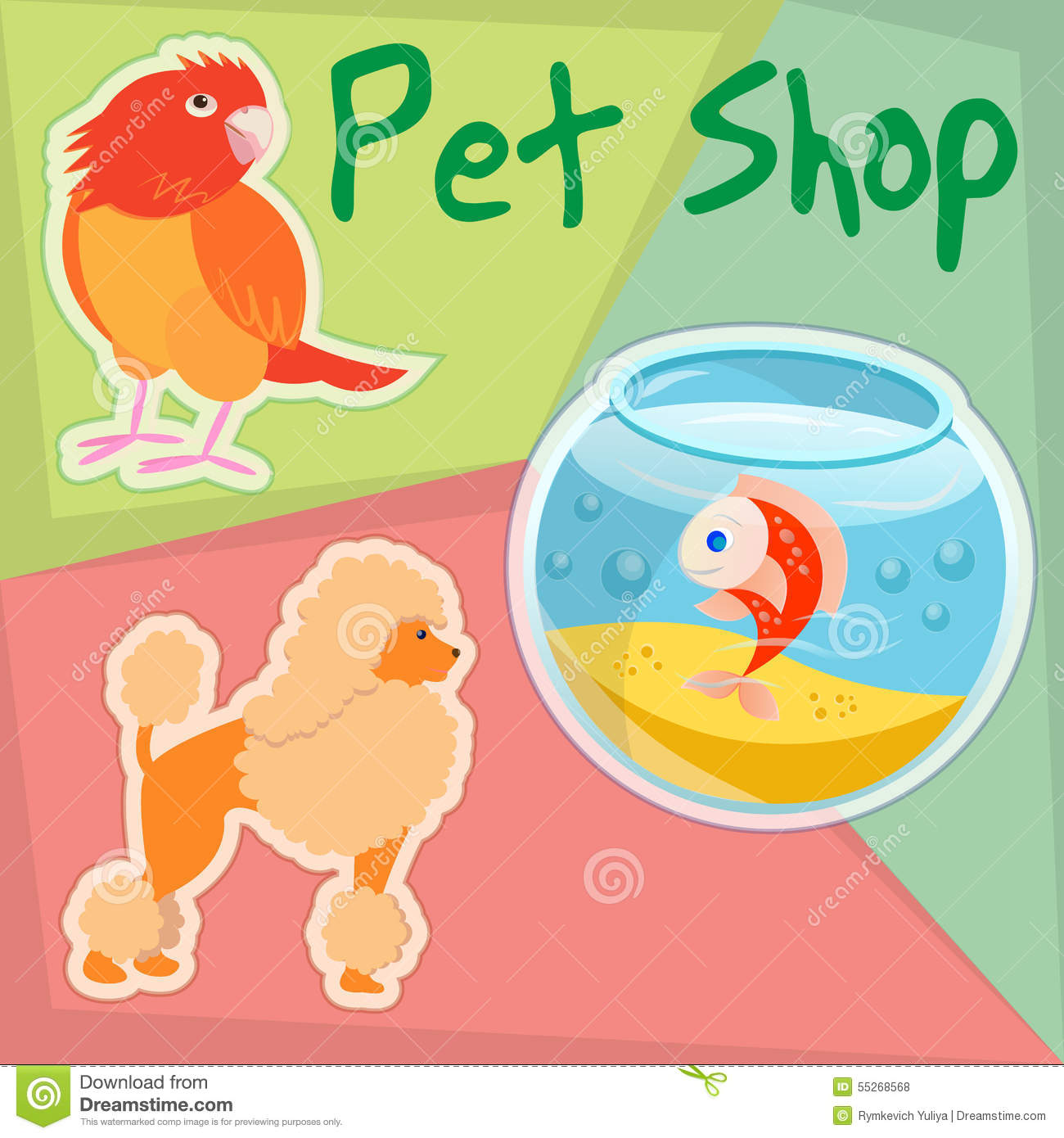 Parrot poodle and gold fish in pet shop stock vector for Fish and pets unlimited