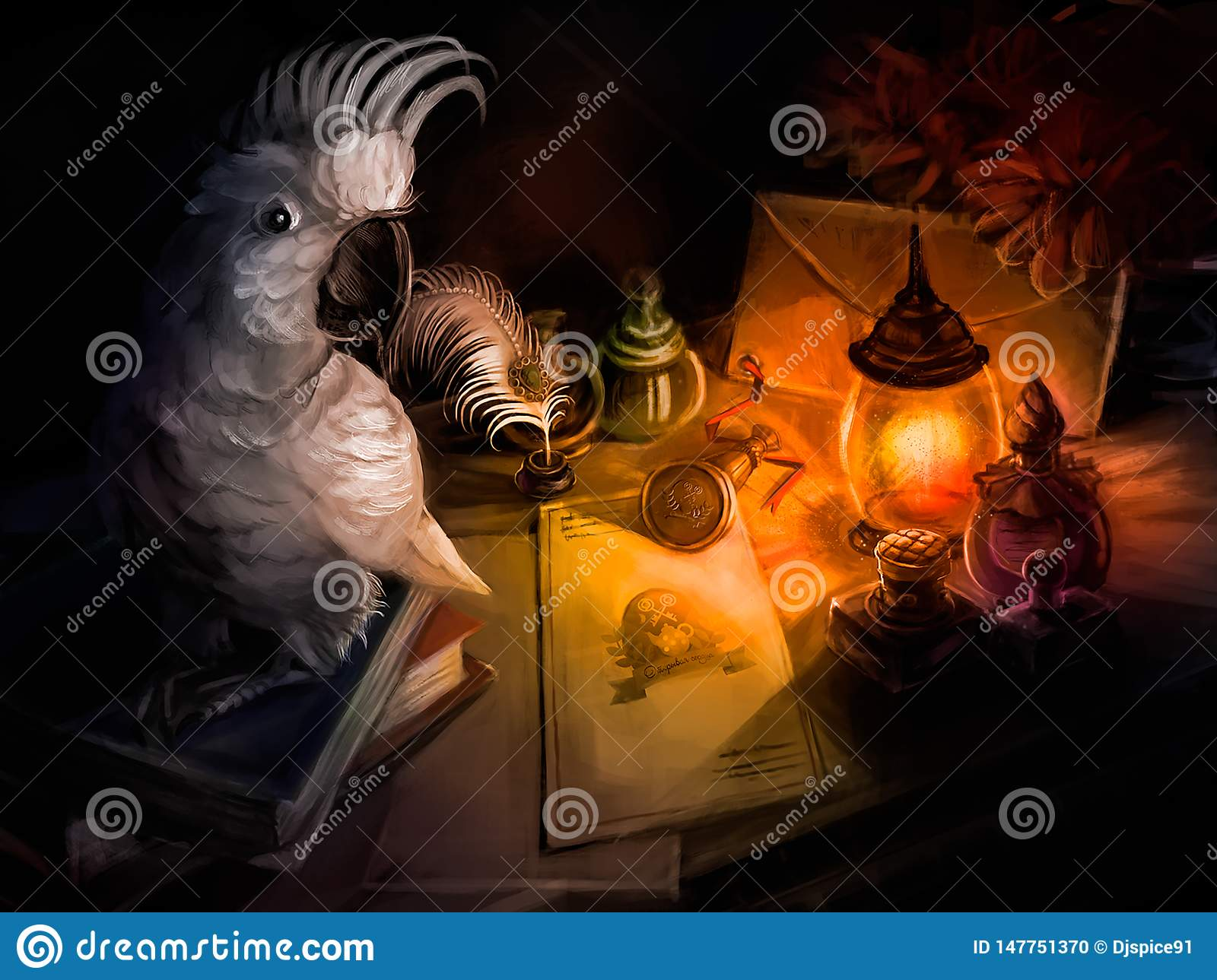 A parrot sits on the Desk of a writer