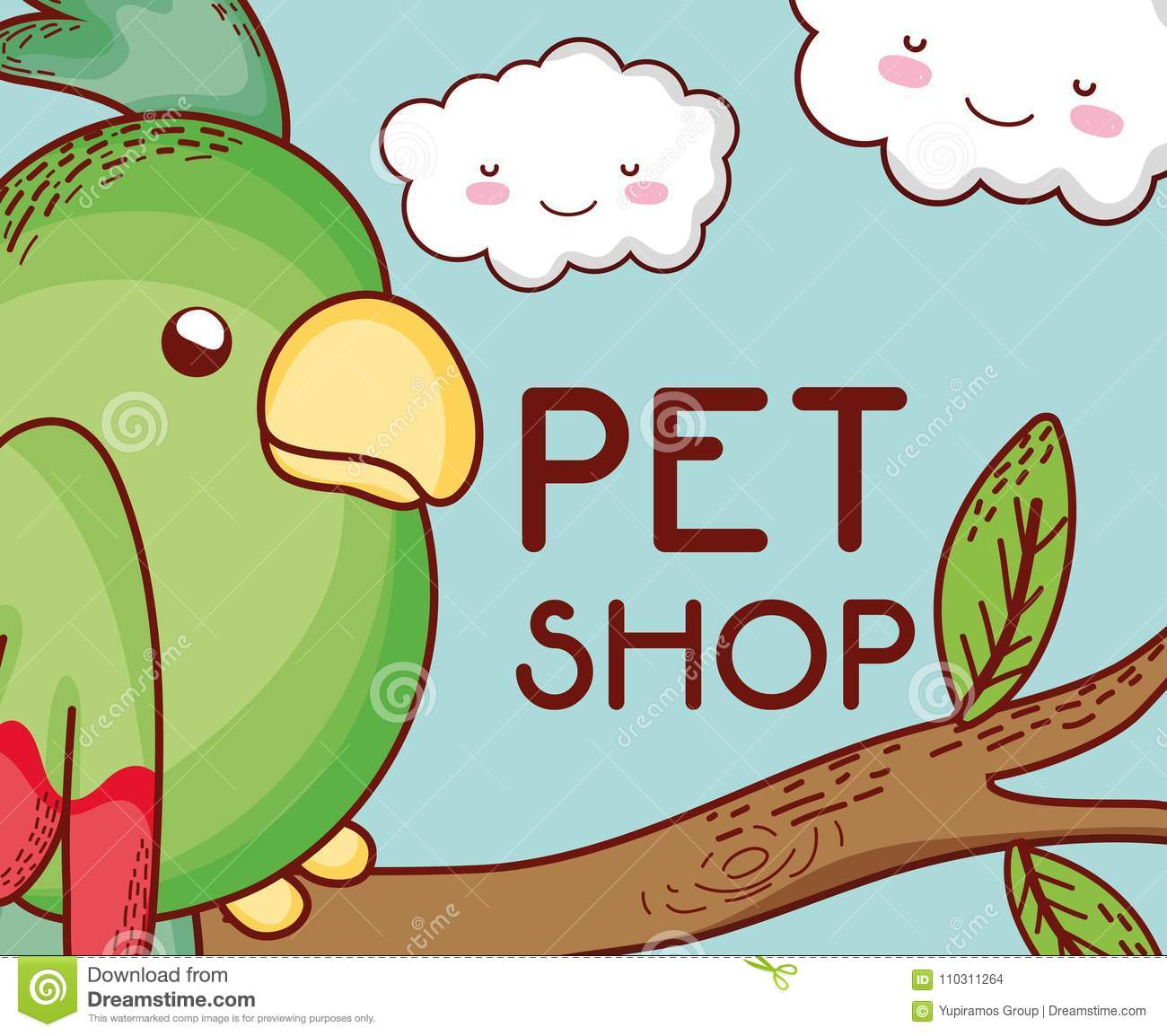 02eecc1ce Parrot on tree branch pet shop vector illustration graphic design