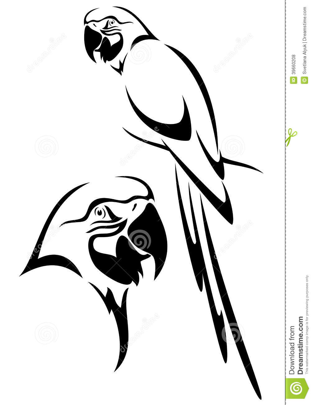 Tropical parrot and bird head black and white vector outline.