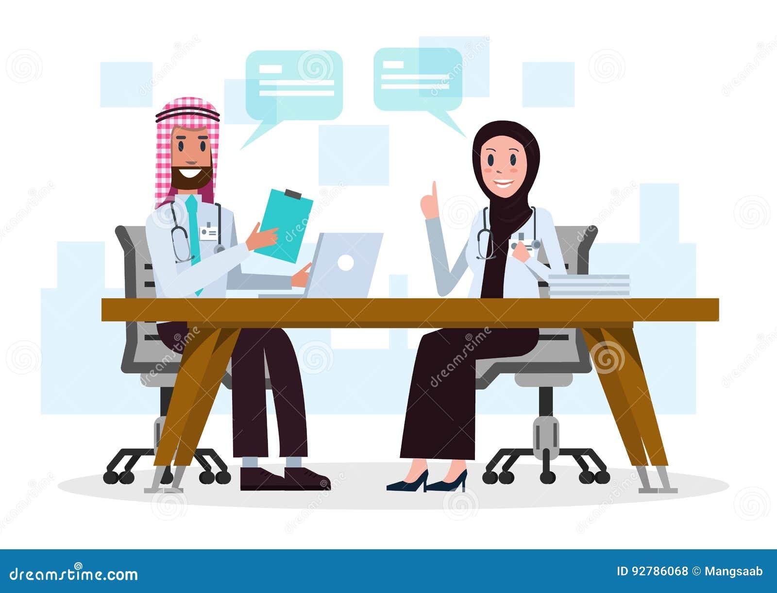 Parsaudier - araben manipulerar samtal om medicinskt fall i rummet