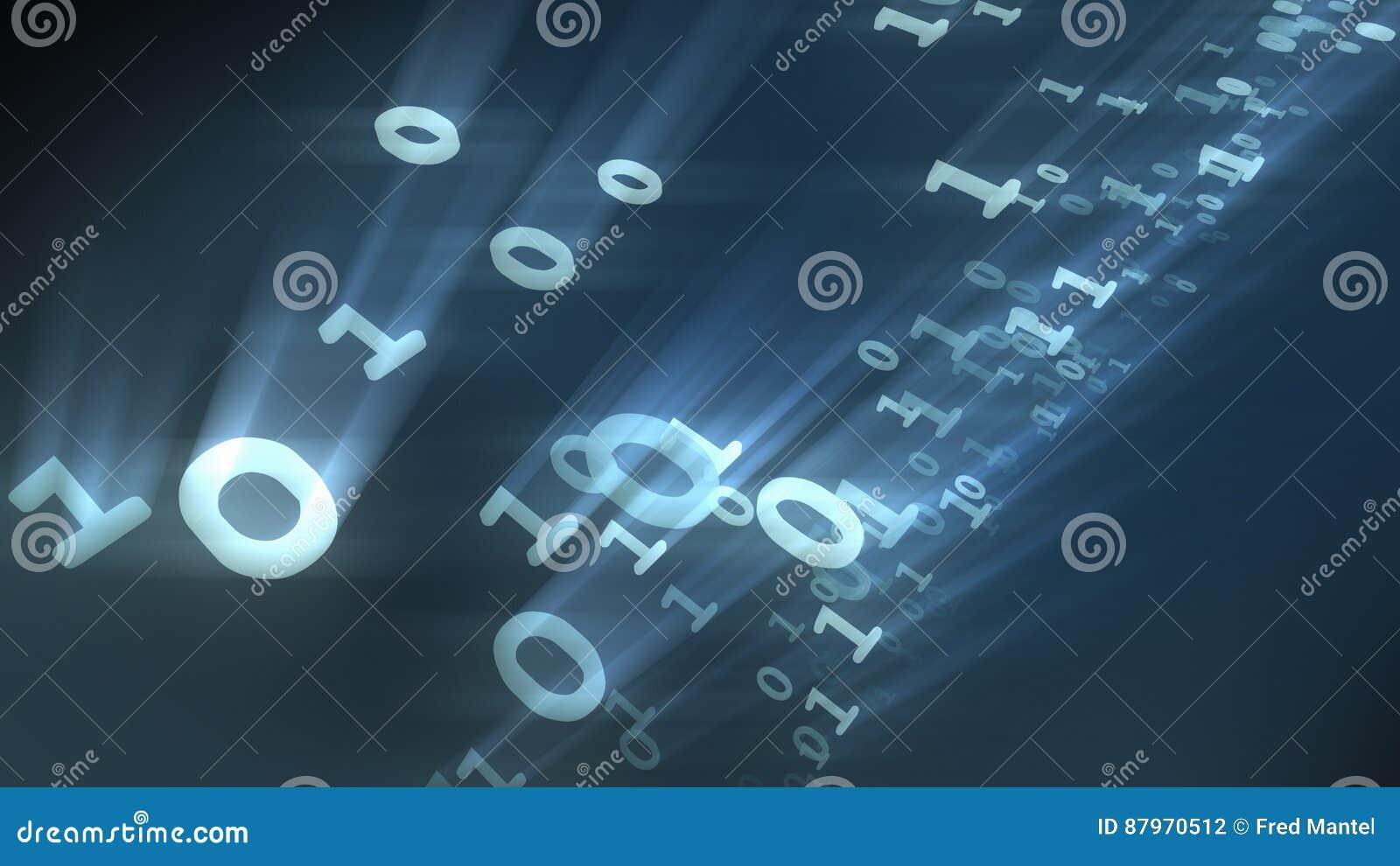 Partículas binárias dos números do computador dos bocados e dos bytes rendição 3d