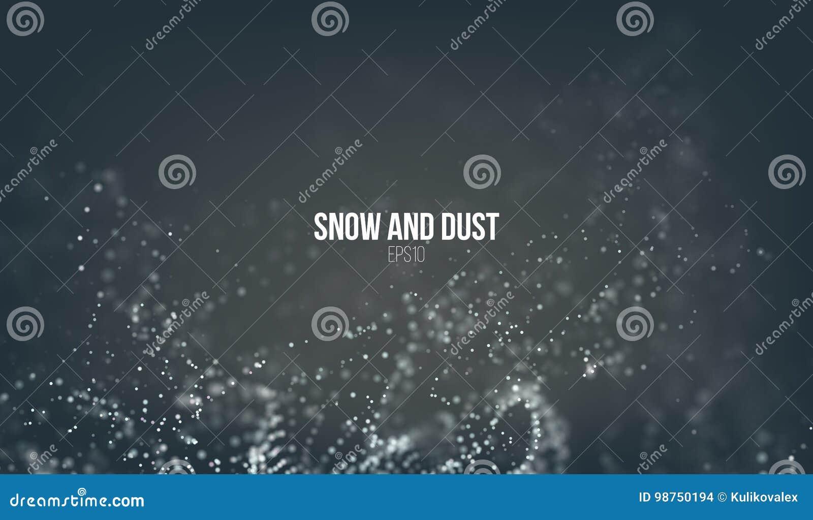 Partículas de queda da neve que voam no ar Redemoinho da tempestade da poeira Efeito de Bokeh Nuvem do floco de neve