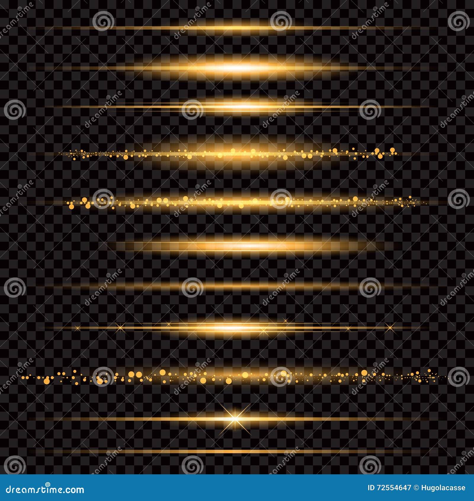 Partículas efervescentes de brilho da fuga da poeira de estrela do ouro no fundo transparente Cauda do cometa do espaço Forma do