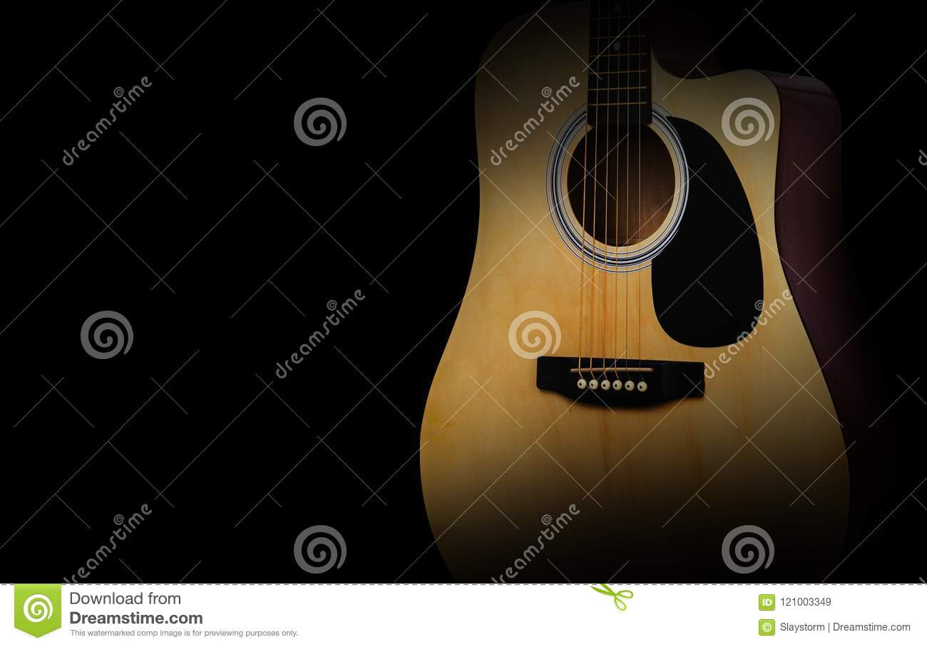 Part Of Acoustic Guitar On Old Black Background Stock Image Image