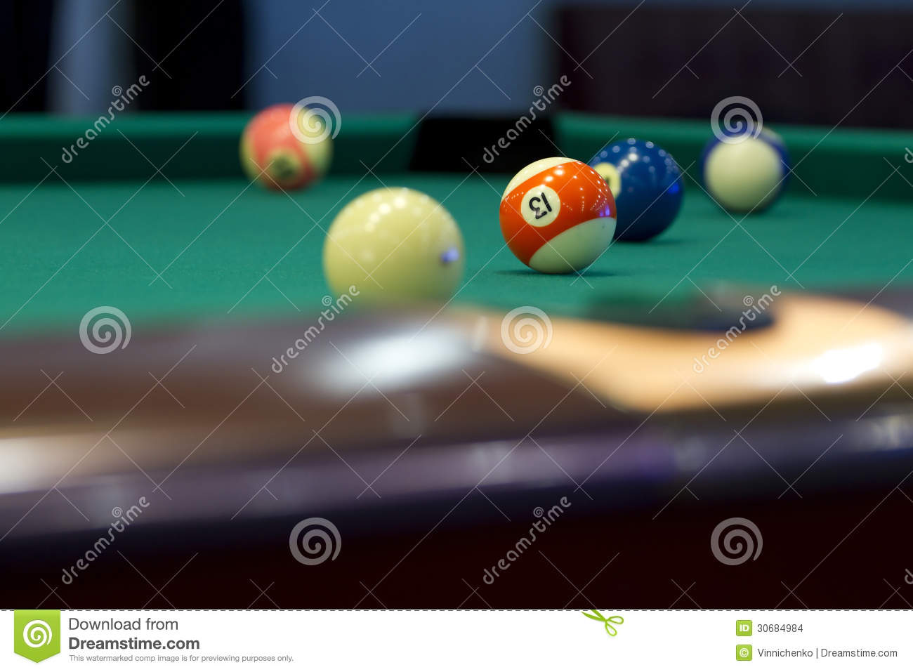 Part of the American pool table with balls.
