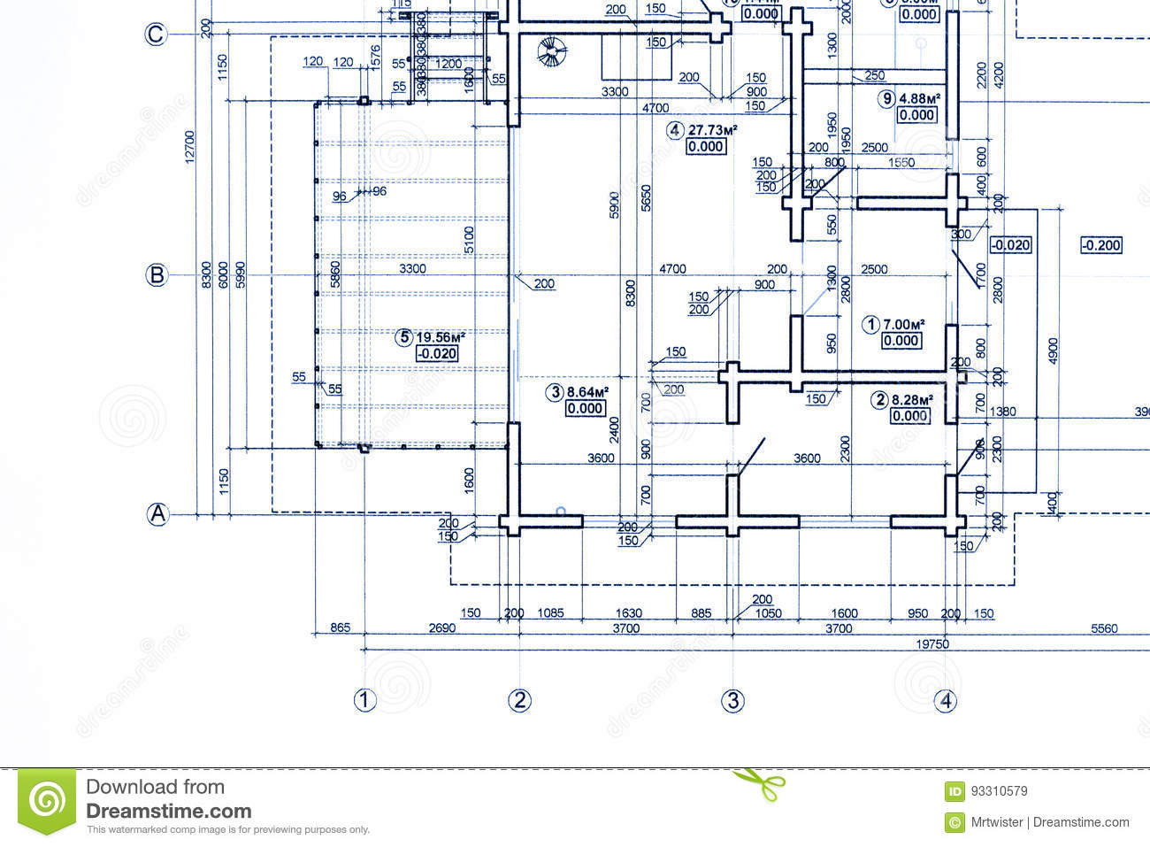 Part Of Blueprint Floor Plan Architectural Drawing Background
