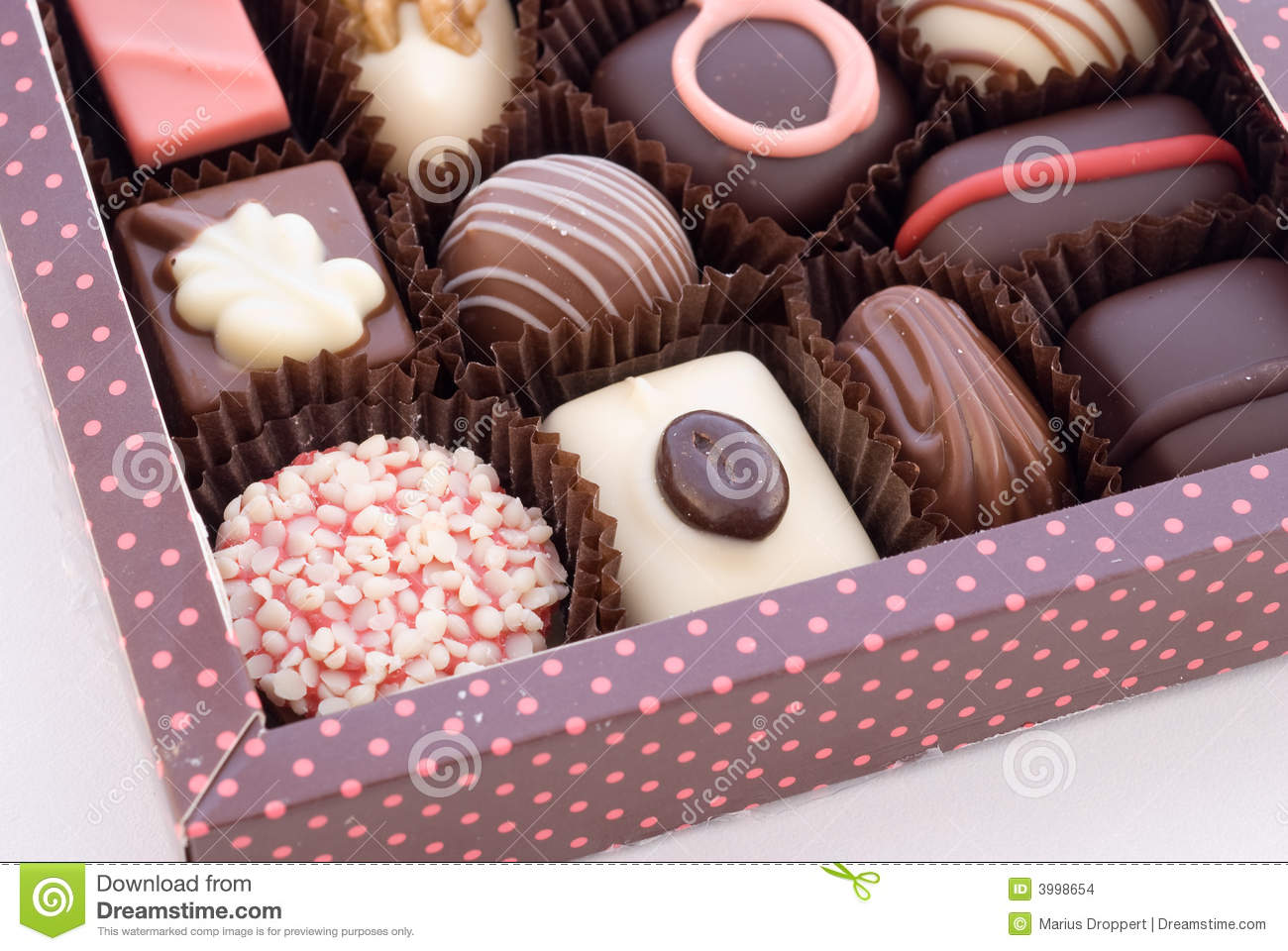 Part Of Box With Chocolate Bonbons Stock Images - Image: 3998654
