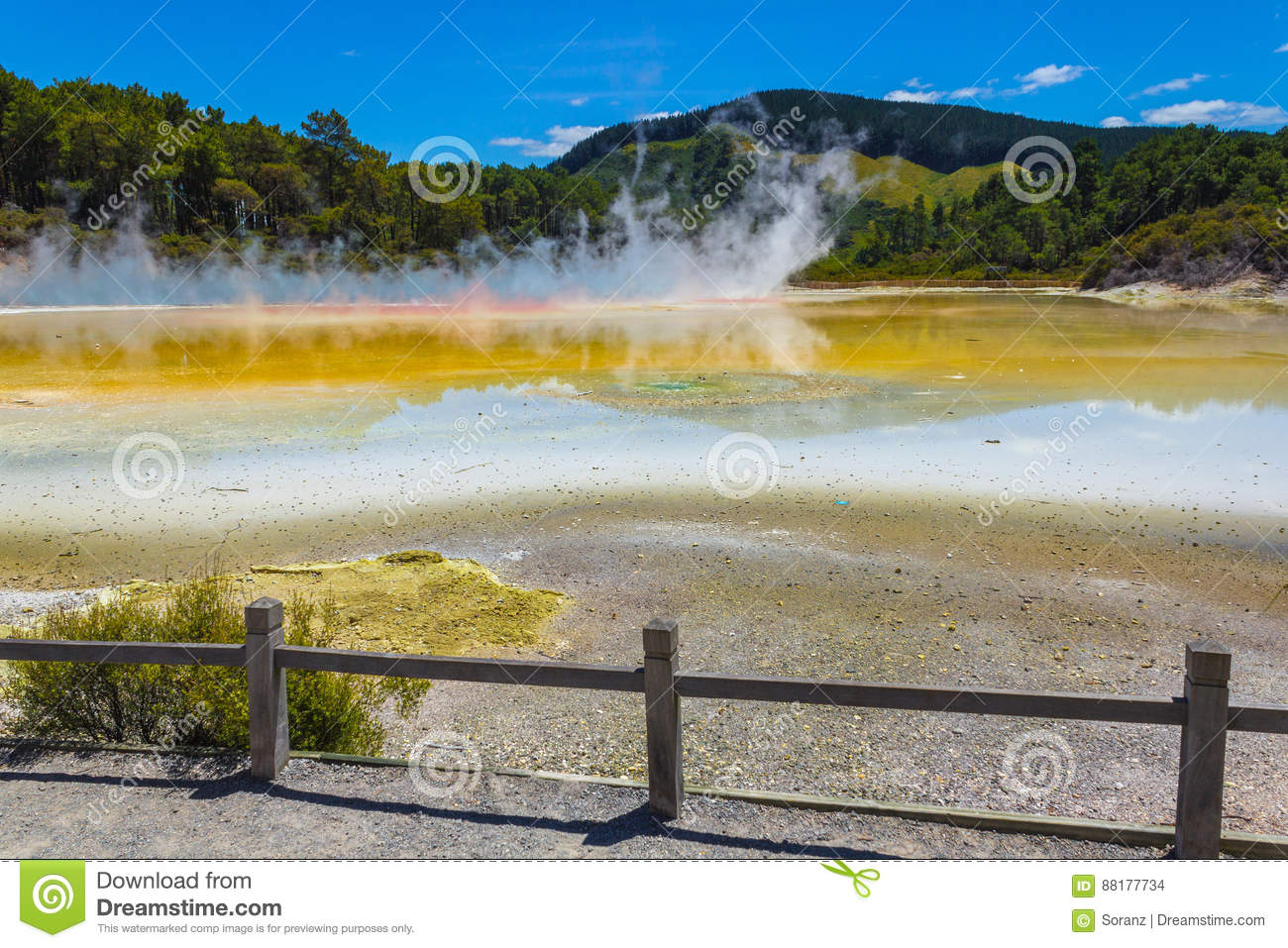Part of The Champagne Pool at Wai-O-Tapu or Sacred Waters – Thermal Wonderland Rotorua New Zealand