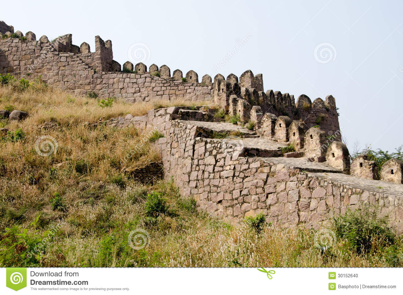 Curtain Wall Medieval Times : Battlements golcanda fort stock photo image