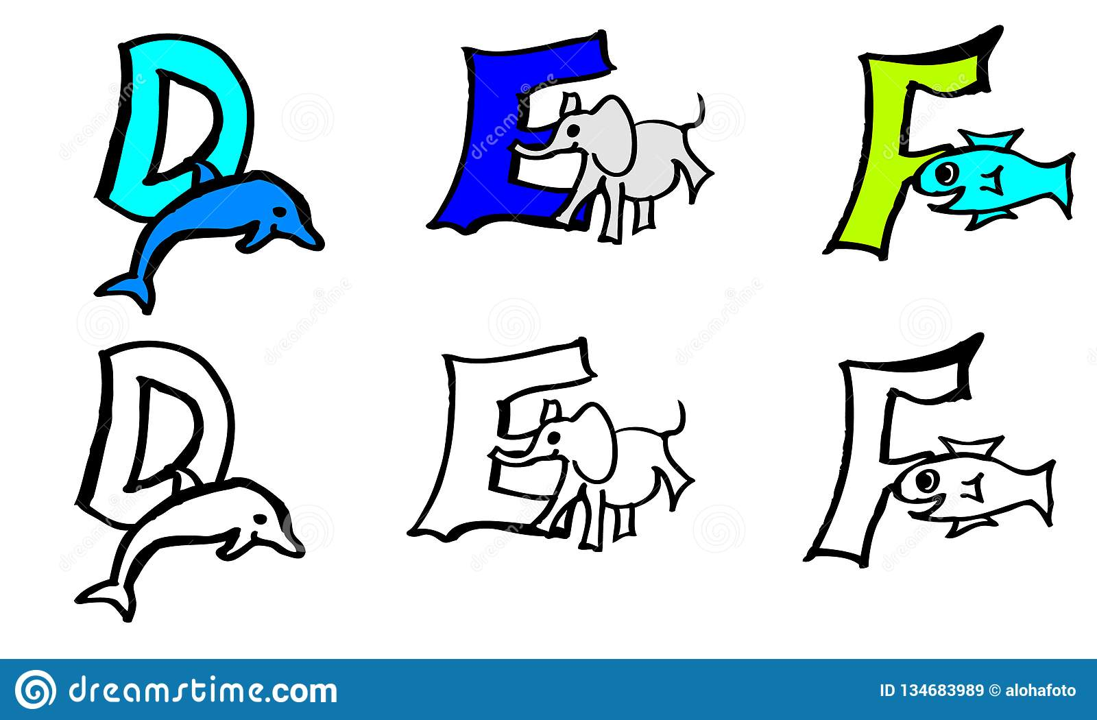 Part 2 d e f coloring book letters with pictures in german and english
