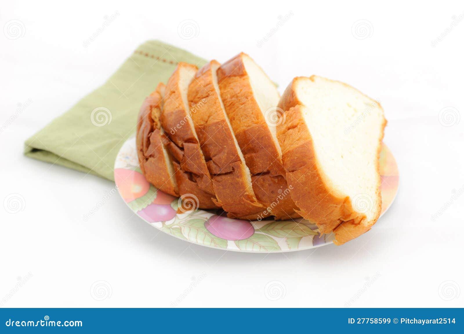 Part de pain de la plaque.