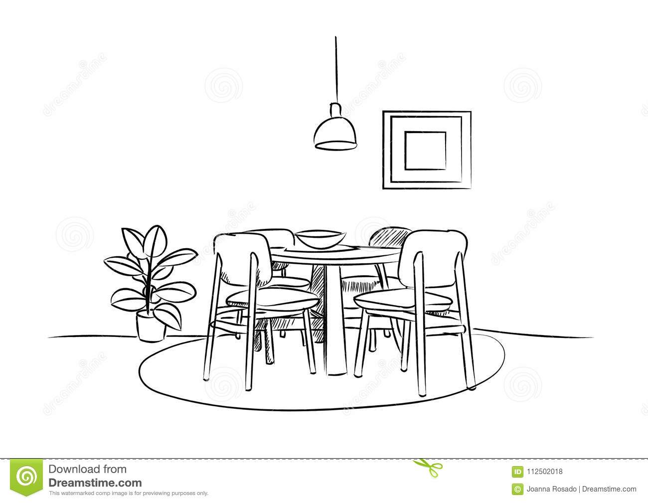 Dining Room Hand Drawn Sketch Interior Design Vector Illustration Stock Vector Illustration Of Floor Apartment 112502018