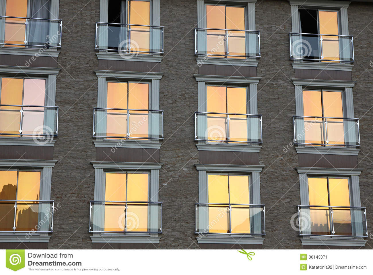 Facade of modern residential architecture stock image for Architecture windows