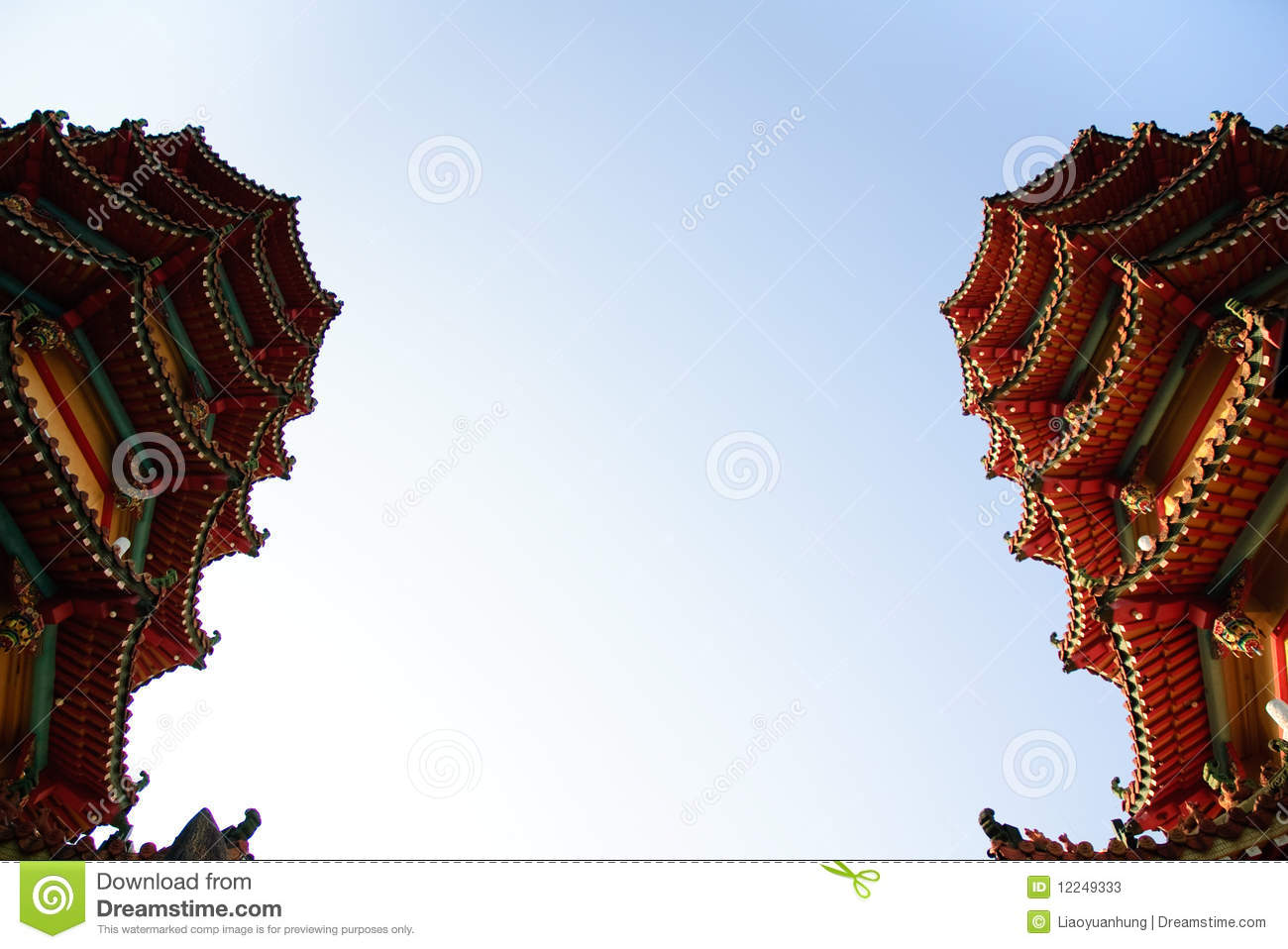 Part of famous dragon and tiger towers in Taiwan
