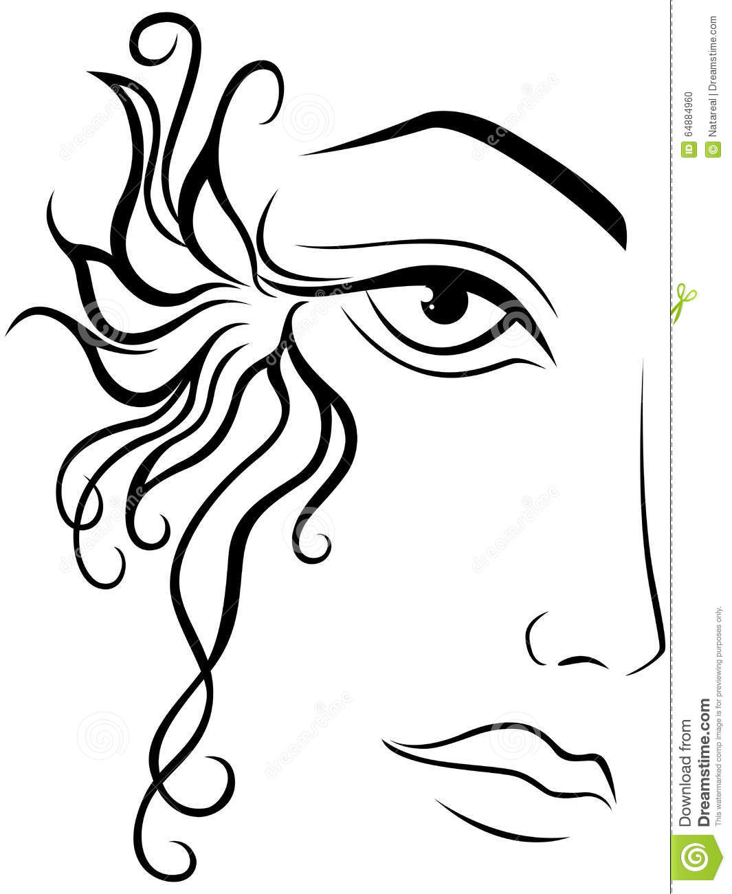 Woman Face Clipart Black And White Part Of Female Face St...