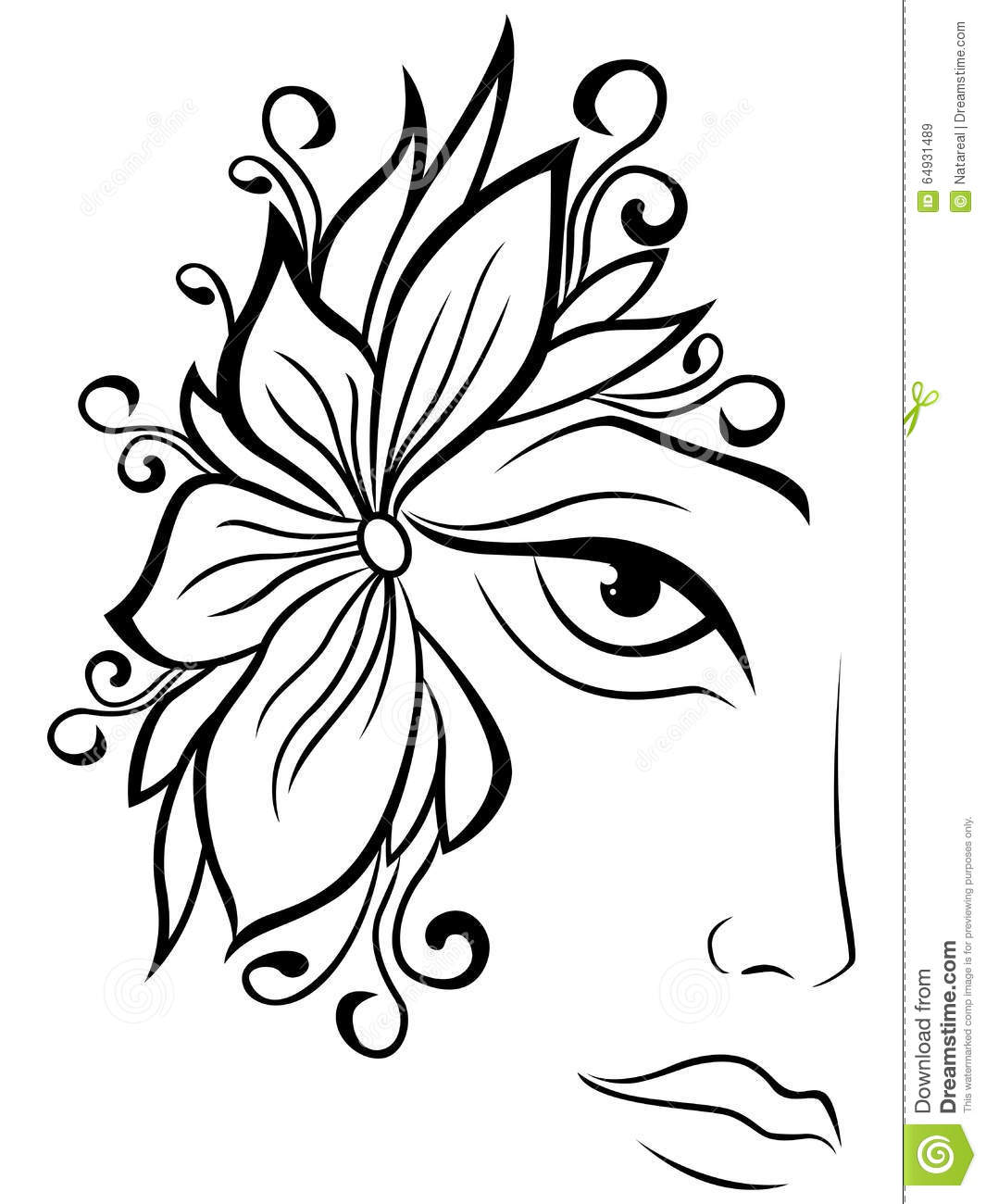 Part Of Female Face With Floral Accessories Stock Vector