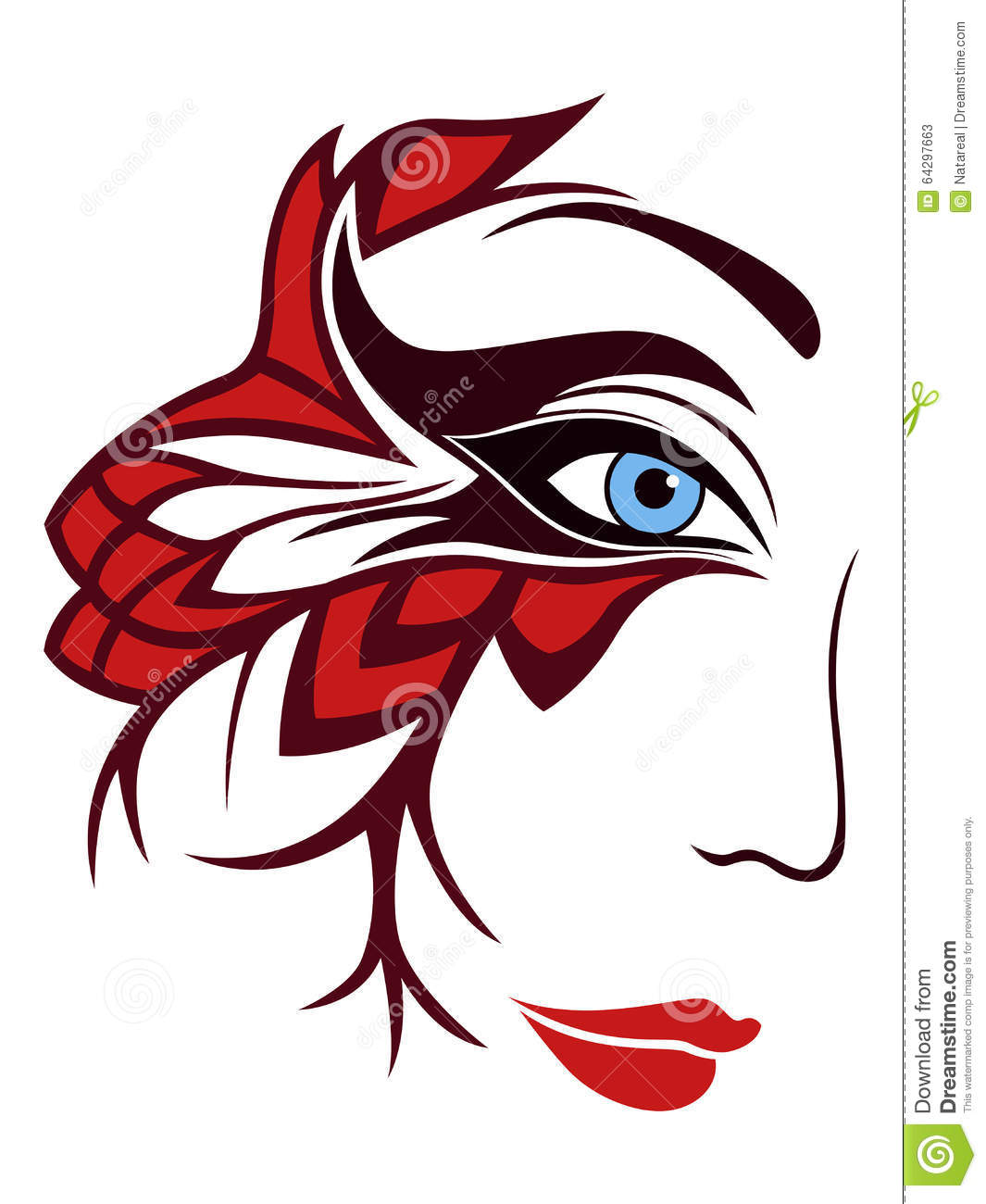 Part Of Female Face With Mask Stock Vector - Illustration of