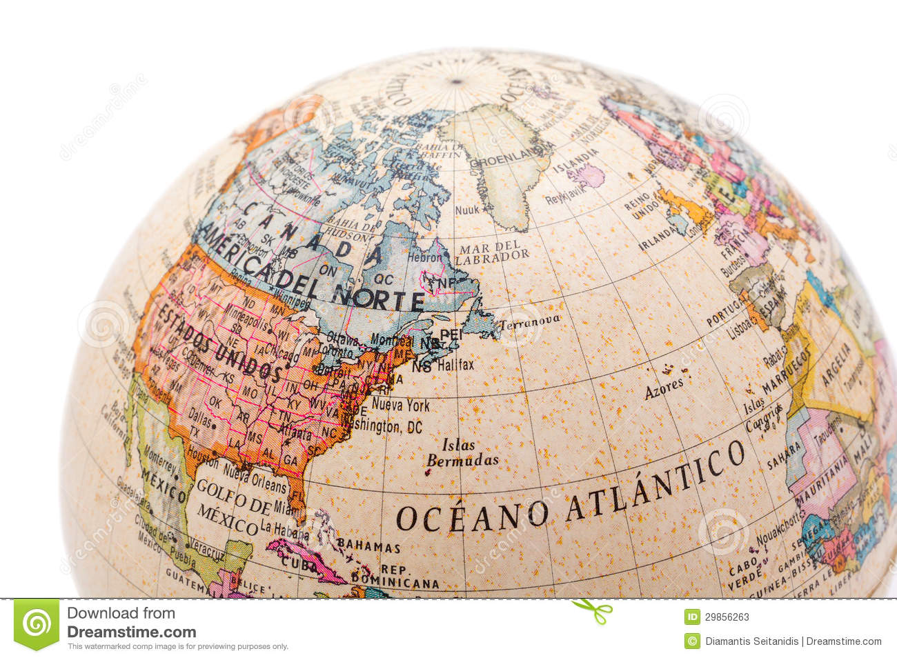 Map Of Canada On Globe.Part Of A Earth Globe Stock Image Image Of Education 29856263