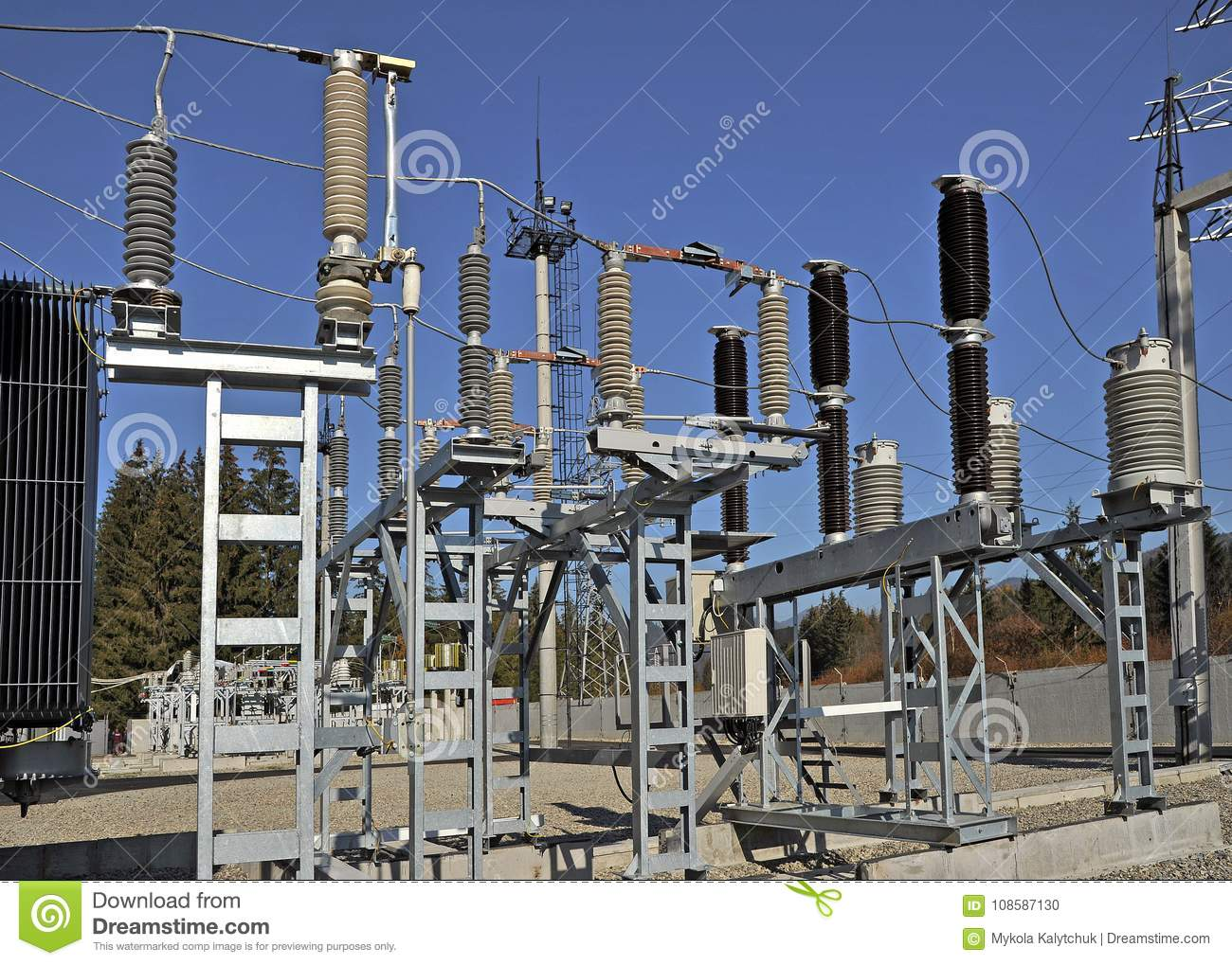 Part Of High-voltage Substation Stock Photo - Image of