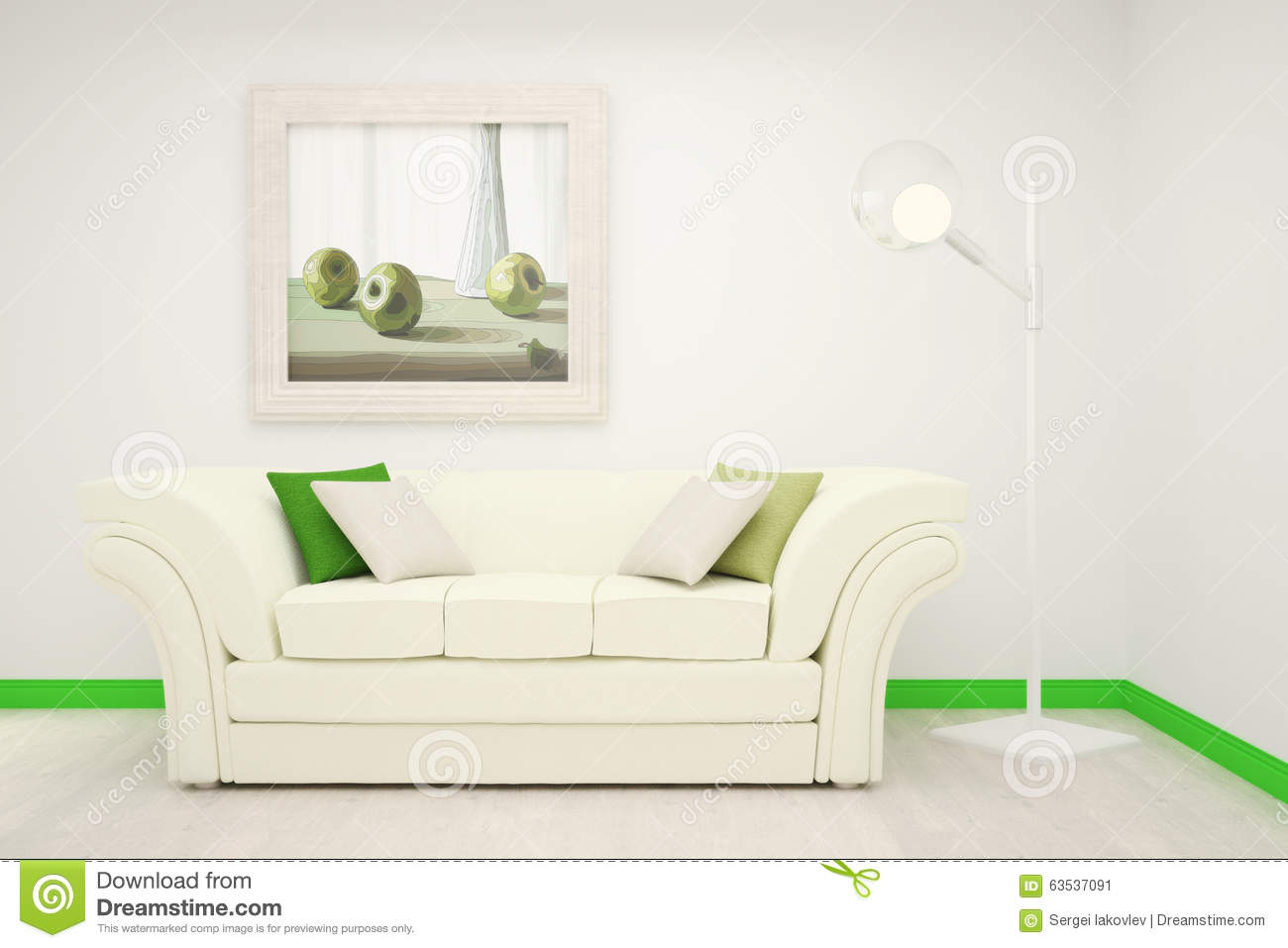 Part of the interior of the living room in white and green for Parts of the living room