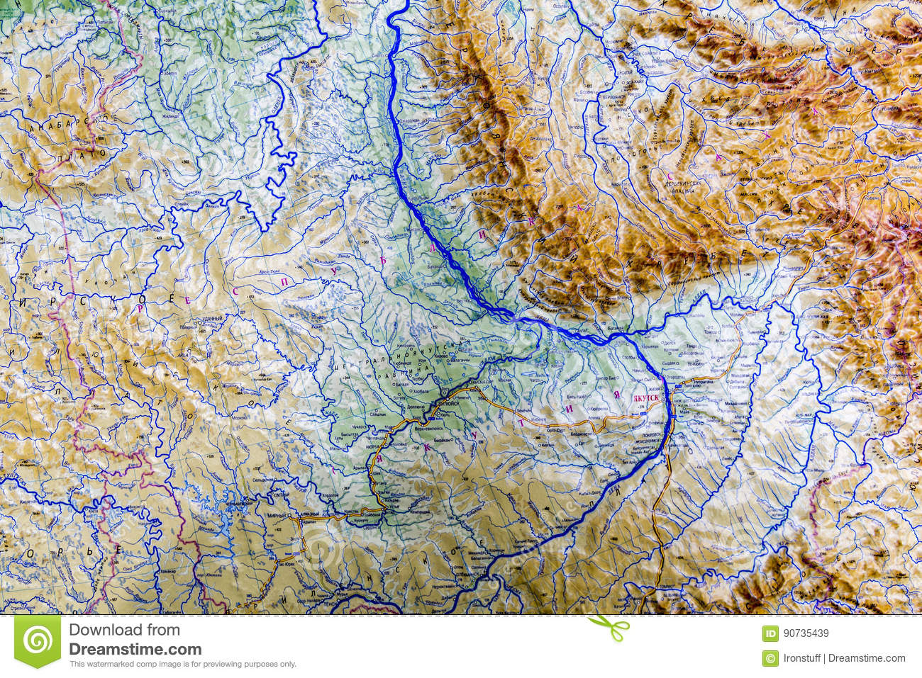 Map Of Russia In Russian.Part Of The Map Of Russia Stock Image Image Of Part 90735439
