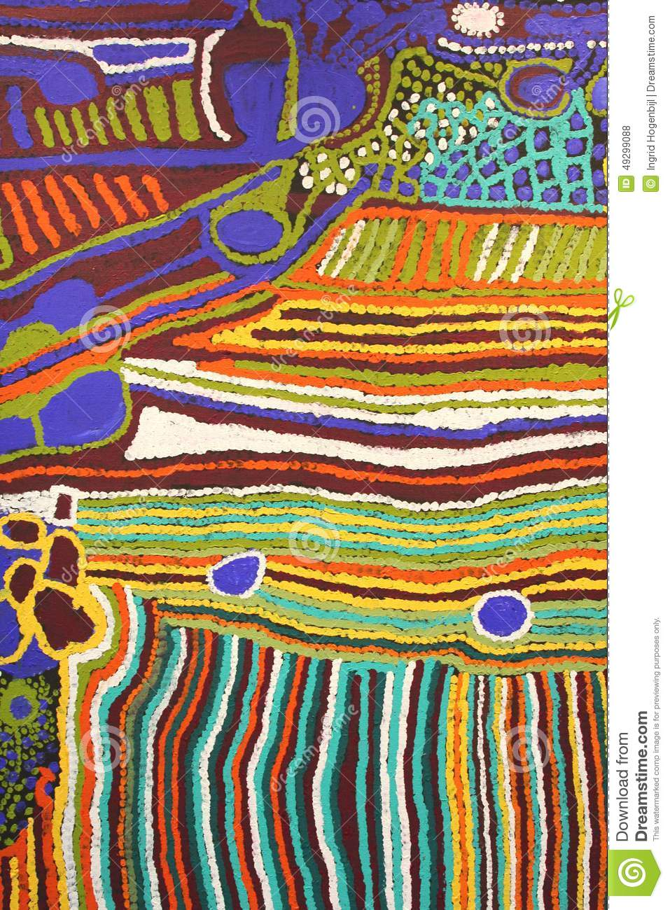 Part of a modern colorful Aboriginal artwork, Australia