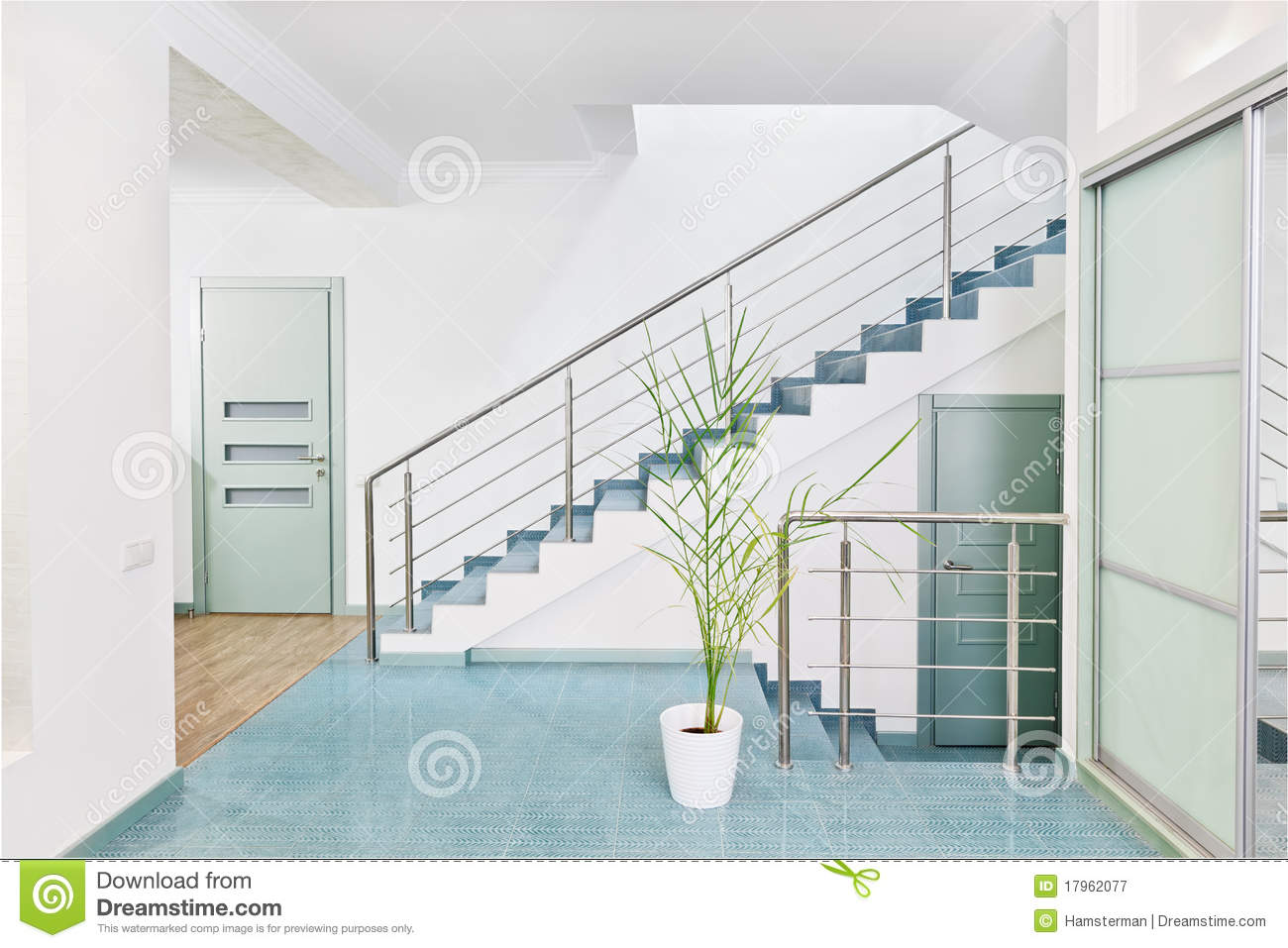 Part of modern hall interior with metal staircase stock for Escalier interieur moderne
