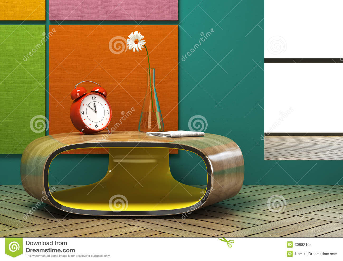 Part of the modern interior with a red alarm clock