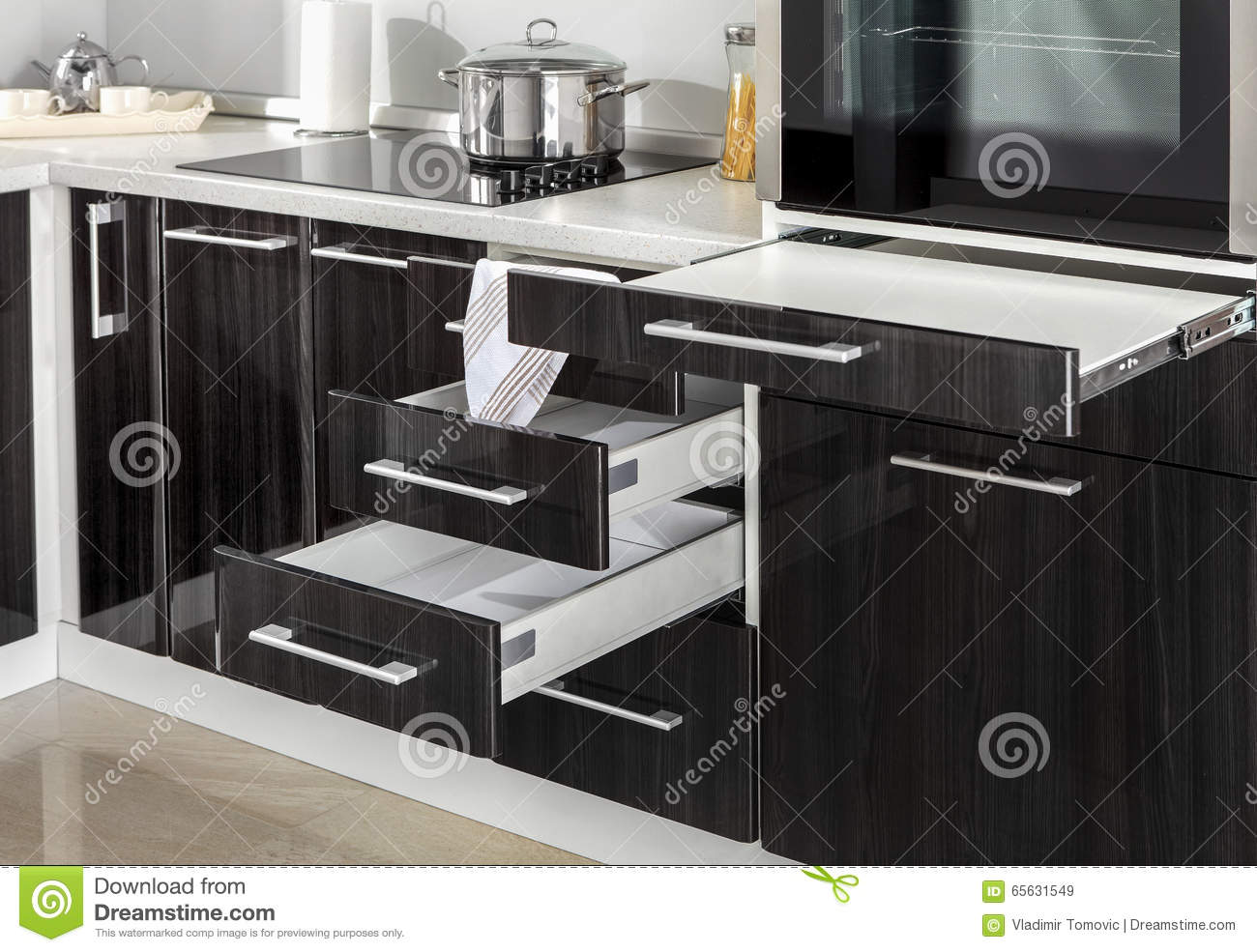Part Of Modern Kitchen With Electric Stove Oven Details ...