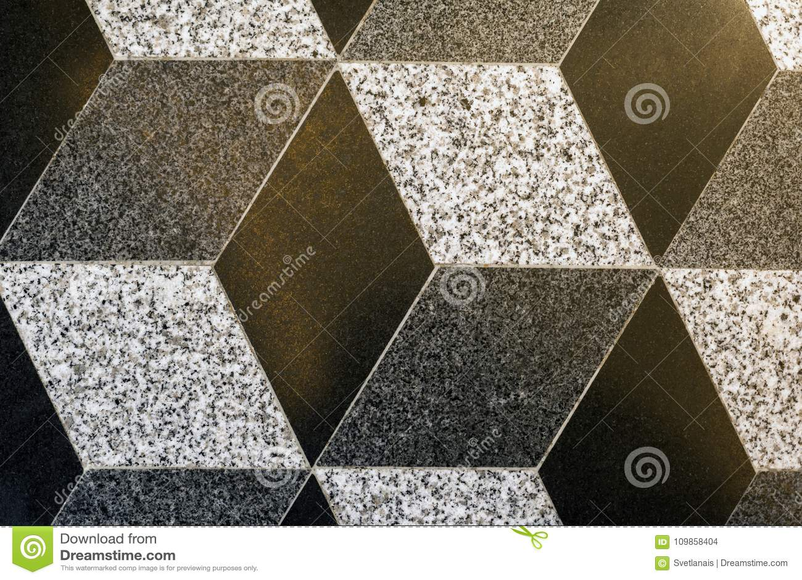 Part Of Mosaic Rhombus Ceramic Floor Tiles Background Texture