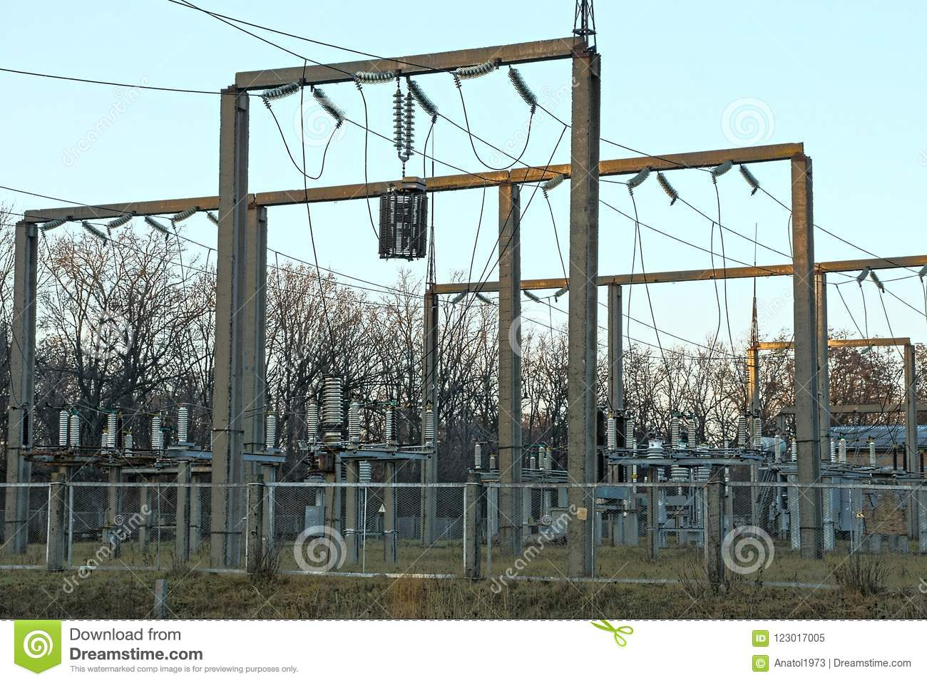 part power plant poles transformers wires behind fence station iron street 123017005 part of a power plant with poles, transformers and wires behind a