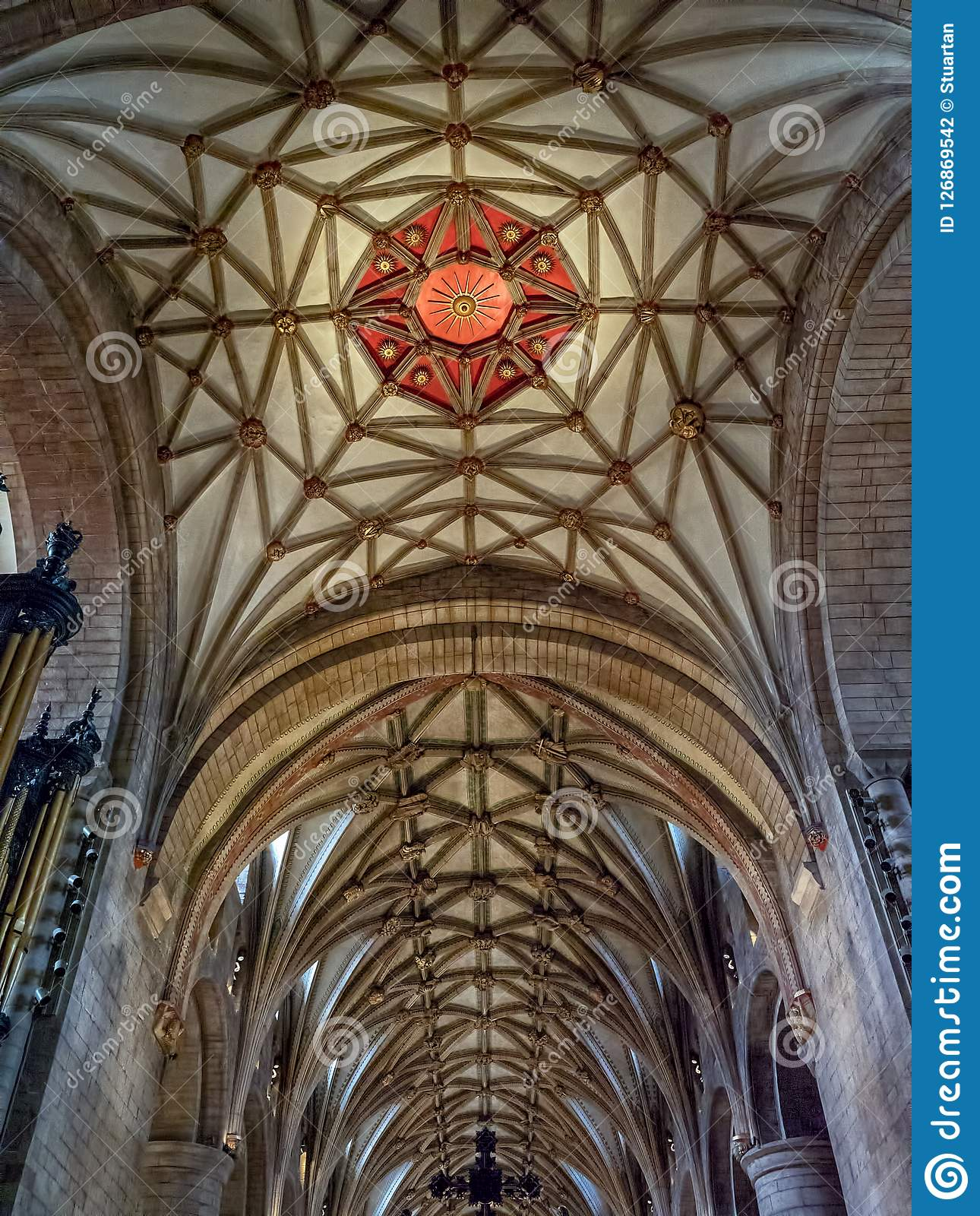 Red Sun emblem, Quire ceiling, Tewkesbury Abbey, Gloucestershire, England.
