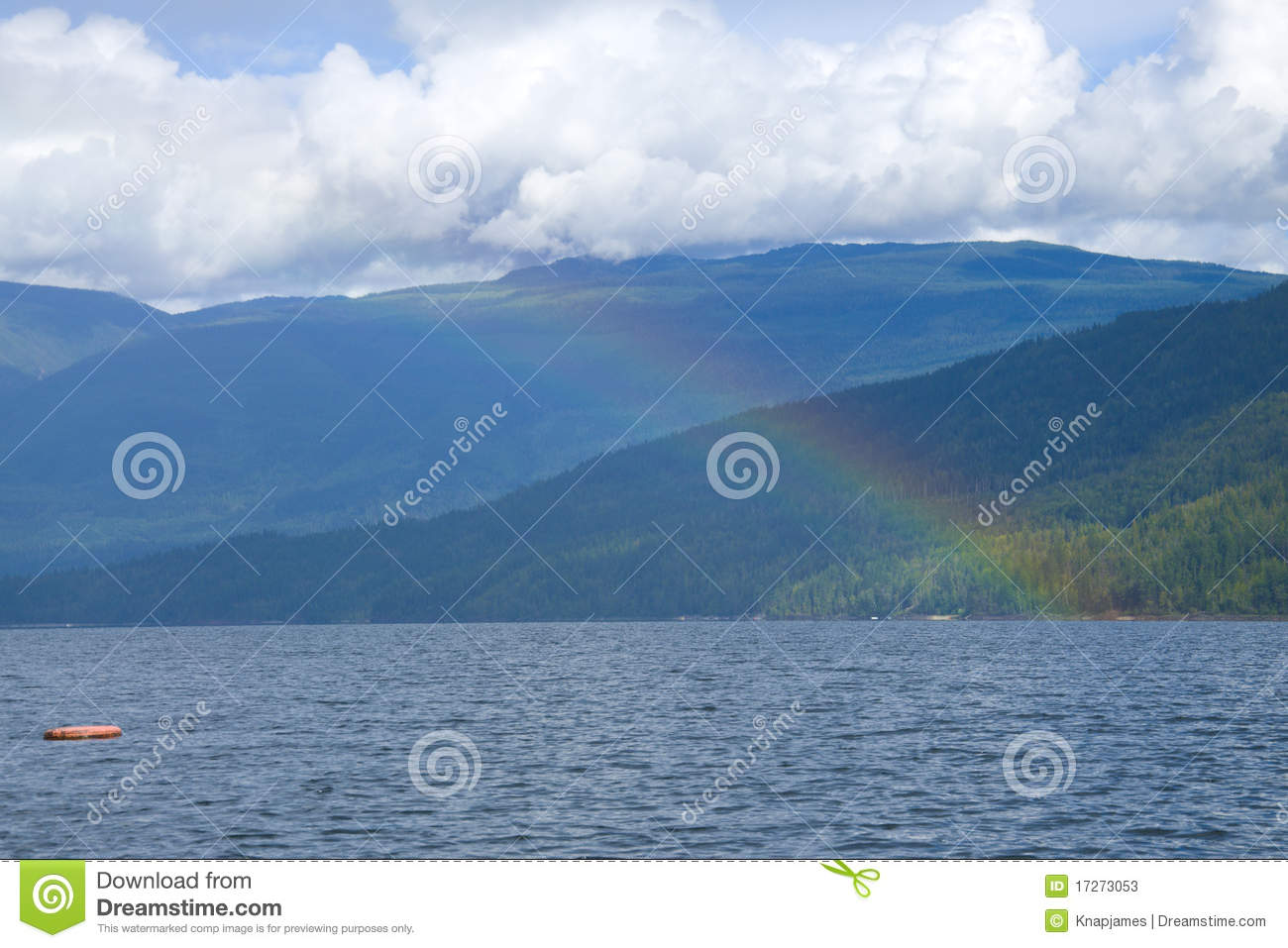 part of the rainbow over the lake stock photos image