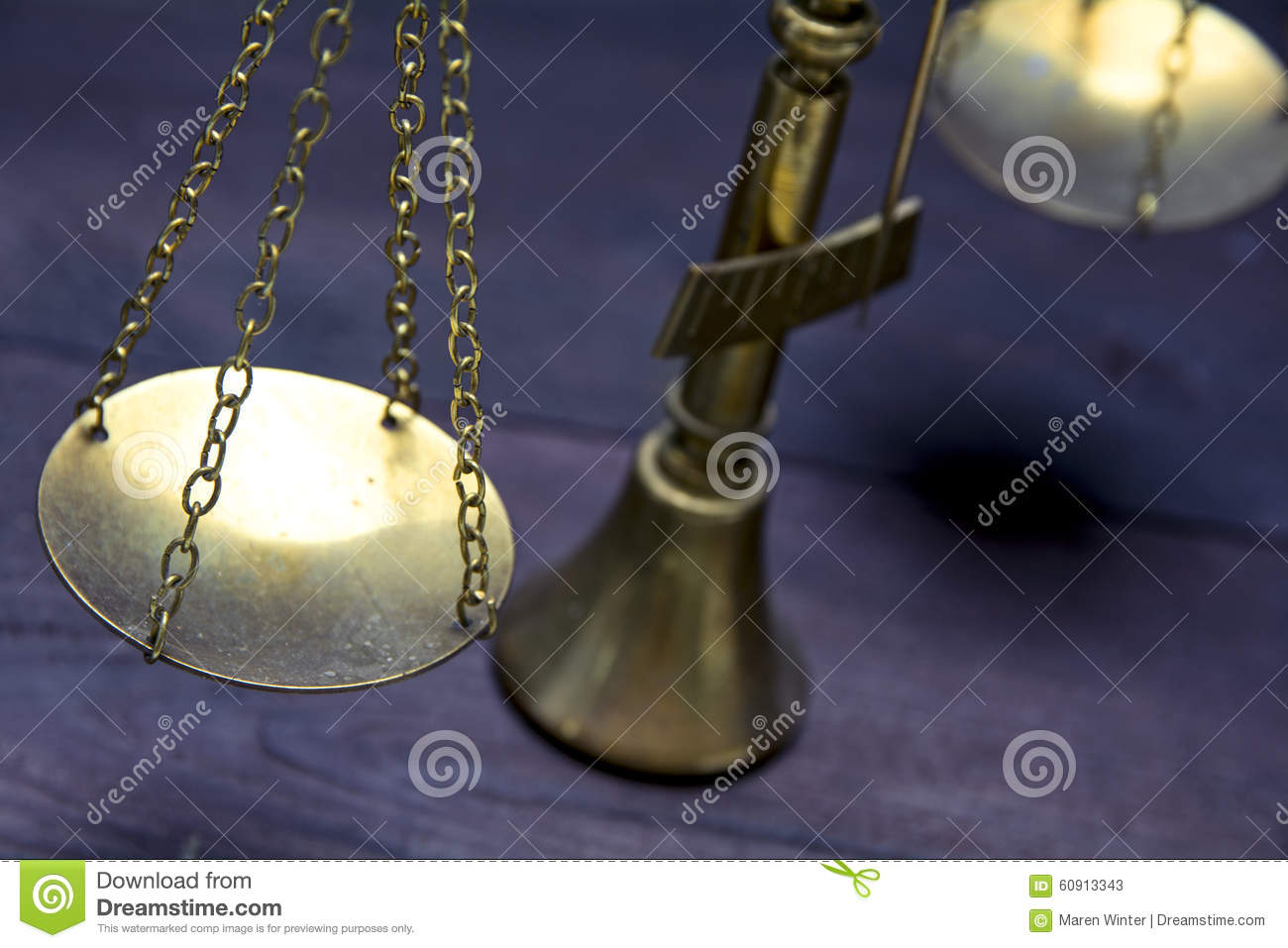 Part Of Scale Or Scales Of Brass On A Dark Wood, Justice