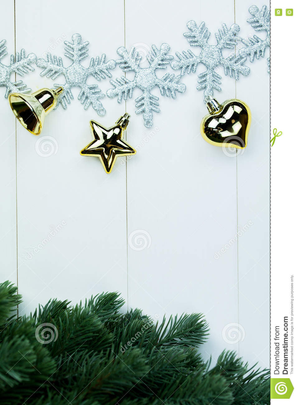 Part Of Spruce Christmas Tree And Golden Ornaments And Snowflakes On ...