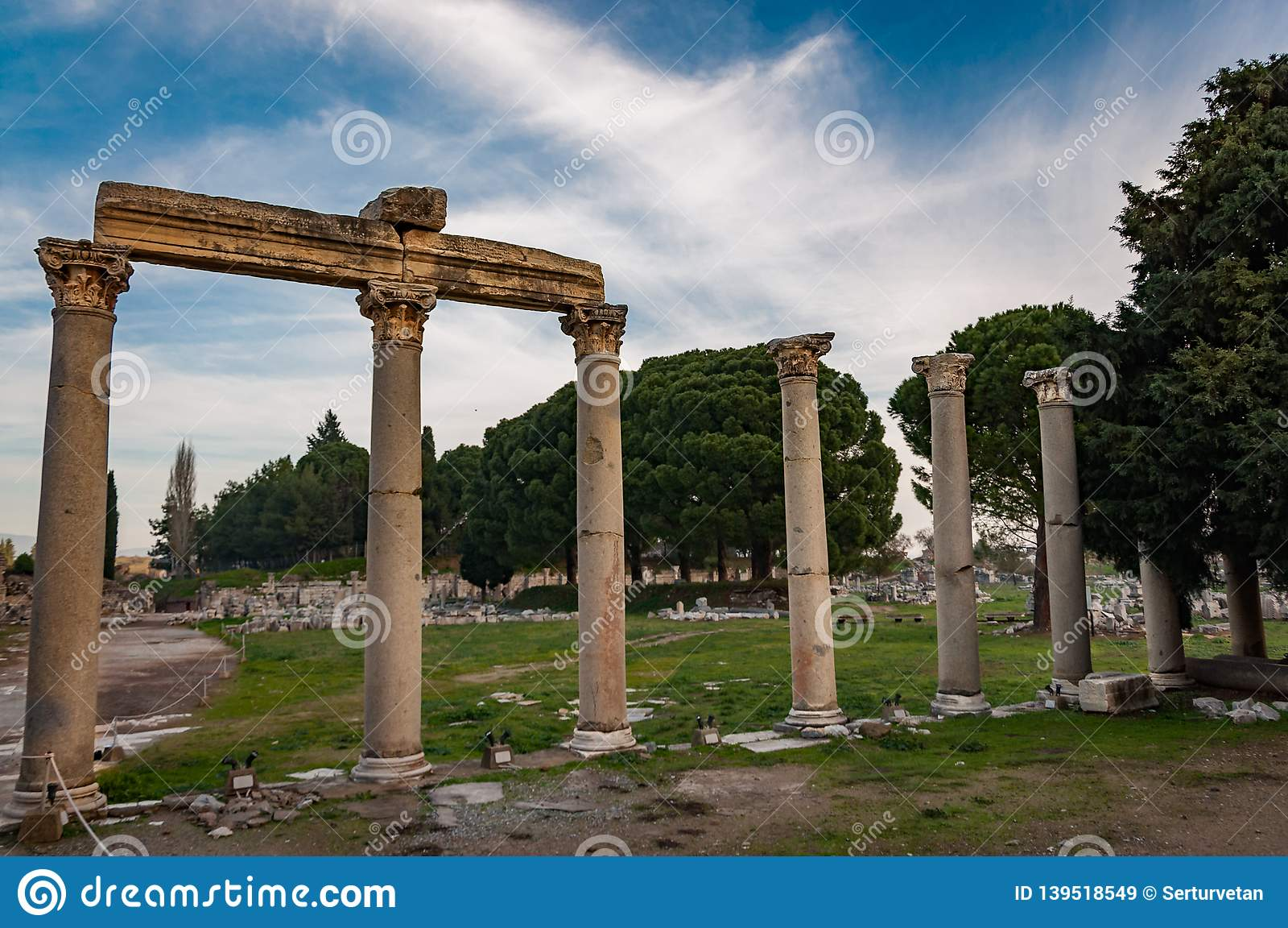 Part of temple in Ephesus, Turkey. The ancient city is listed as a UNESCO World Heritage Site