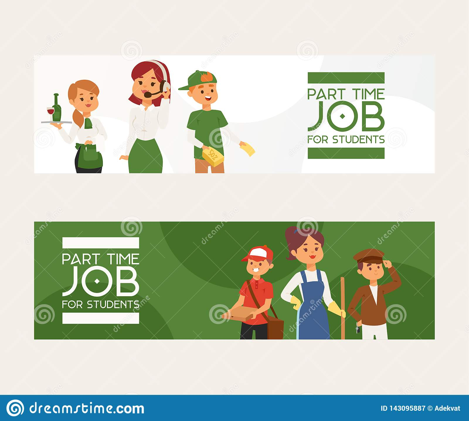 Part-time job vector young woman man character at part time work cleaner waitress in cafe and pizza deliveryman
