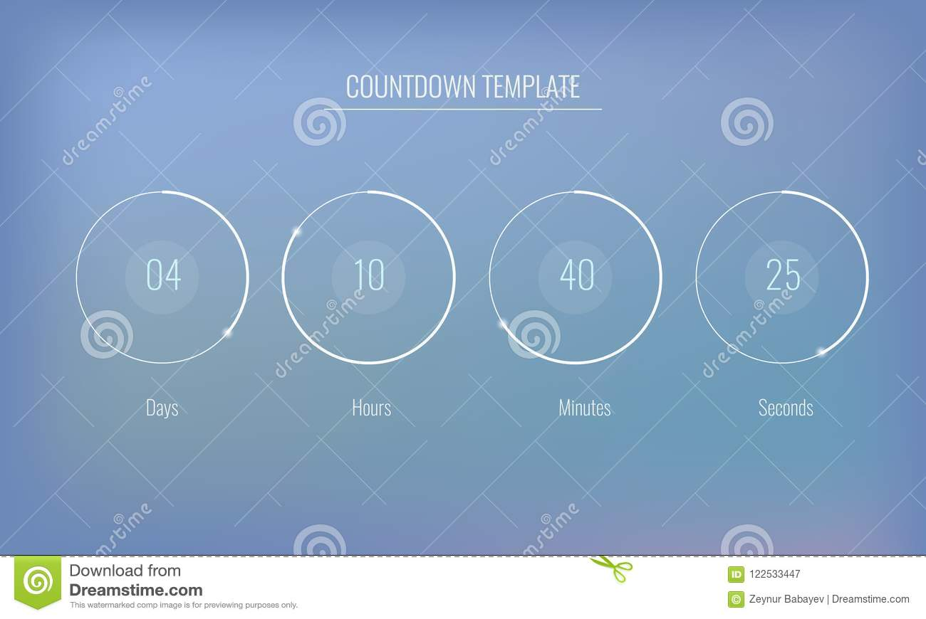 part of the user interface clock countdown template for application