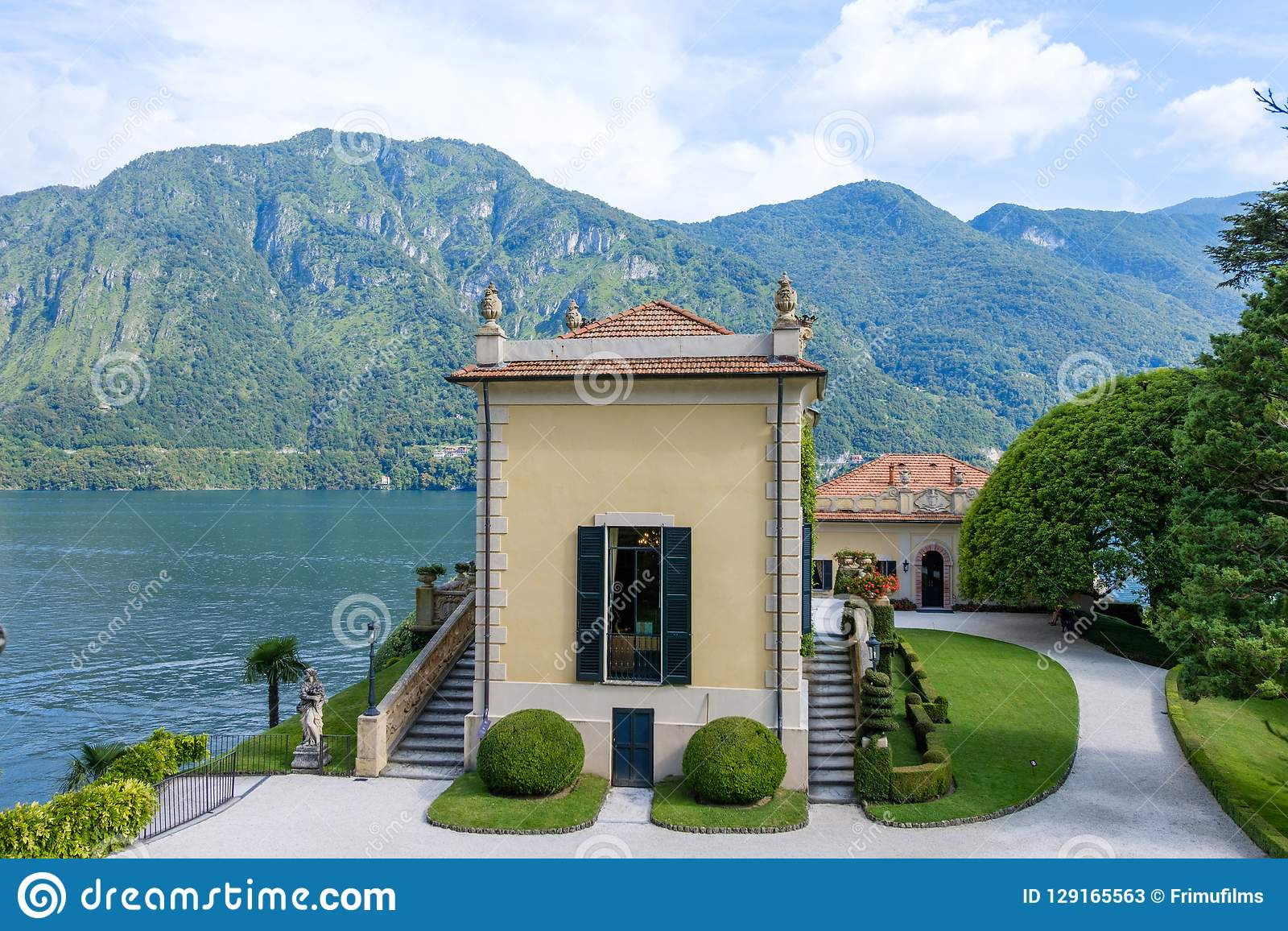 A part of Villa Balbianello with mountains