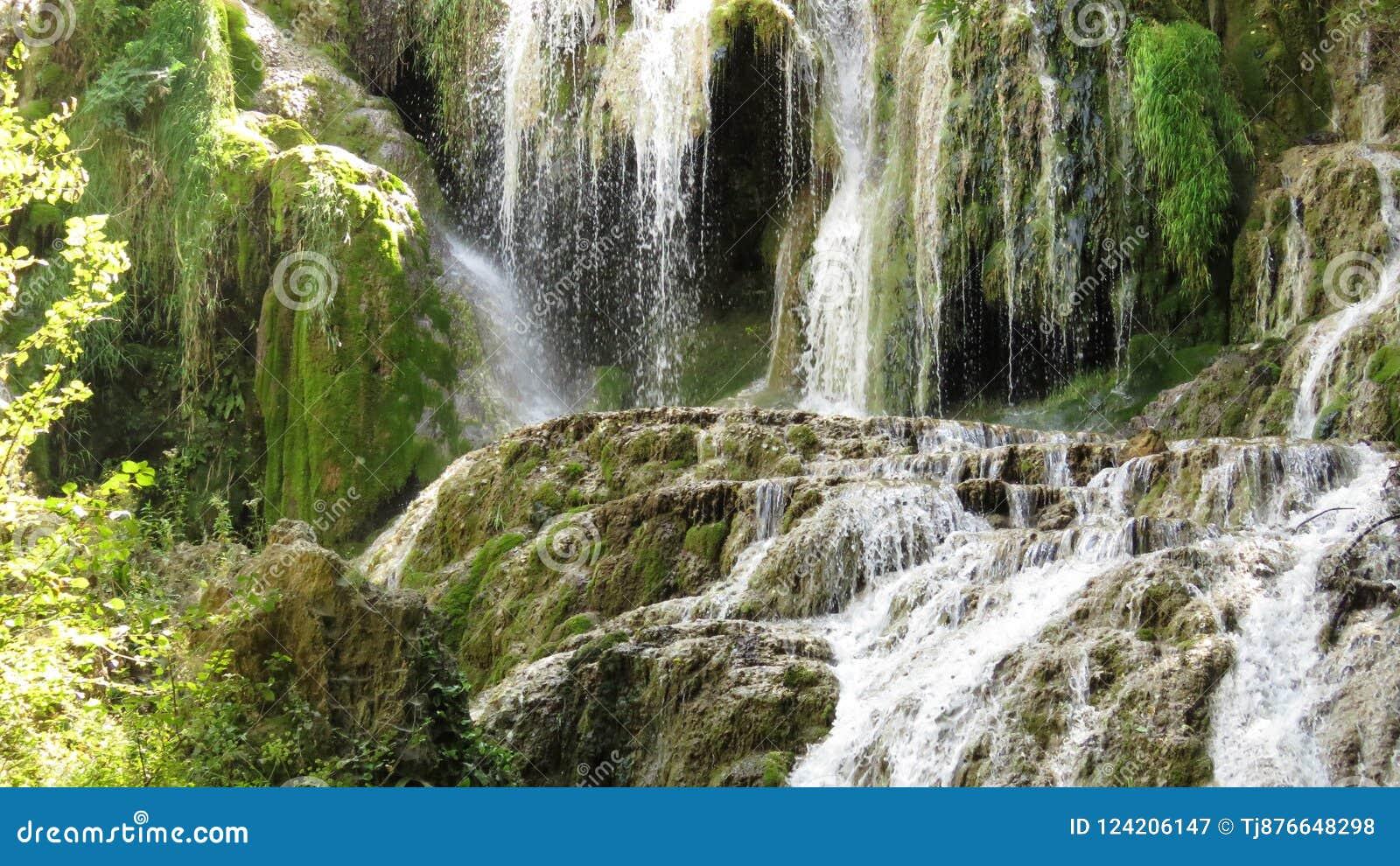 Part From Waterfall Cascade Krushuna Bulgaria In Summer. Water. Environment. Mountain tourism.