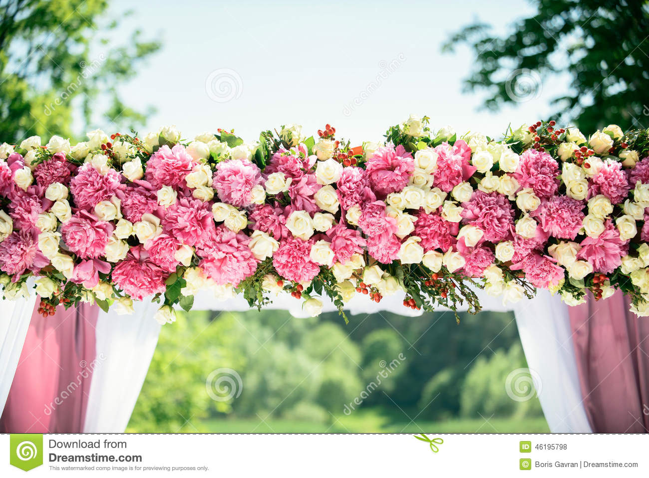 Part of wedding arch stock photo. Image of flowers, pink - 46195798
