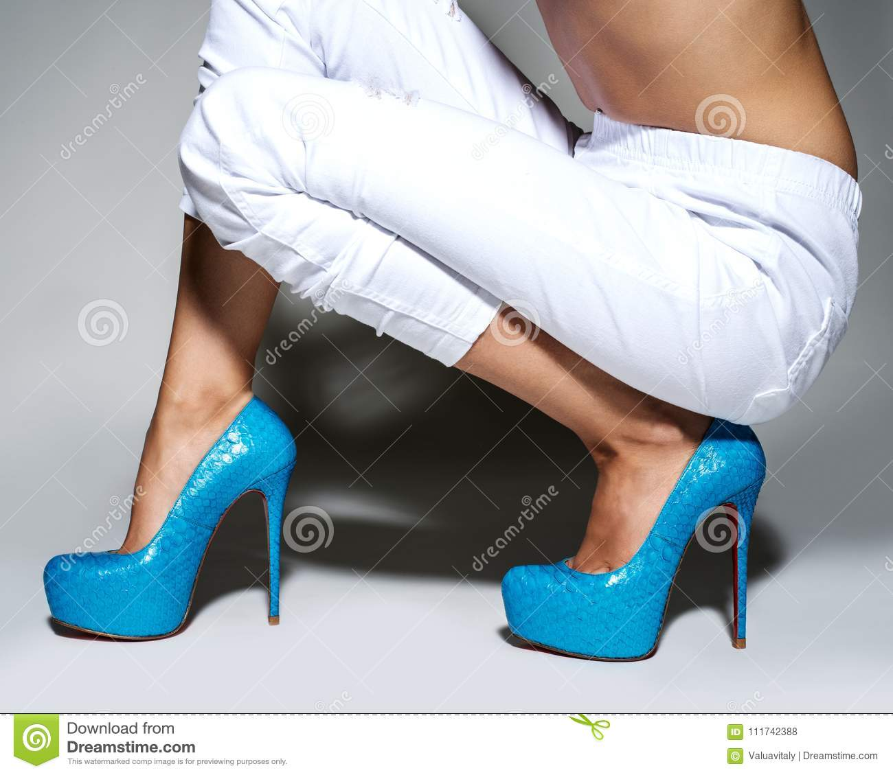 f791e3eaaa Part of woman legs in beautiful fashionable high heels. Stylish female  shoes.
