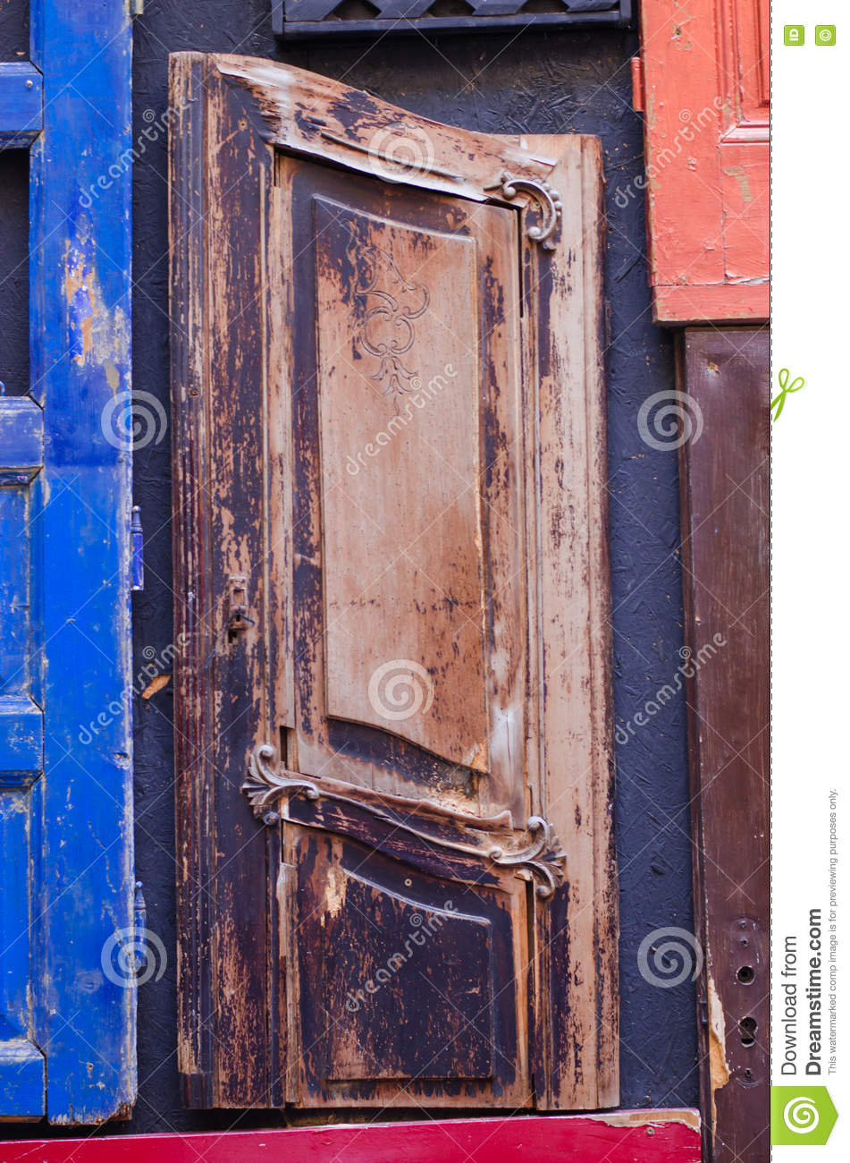Part Of A Wooden Door Different Types Of Wood Stock Image Image Of