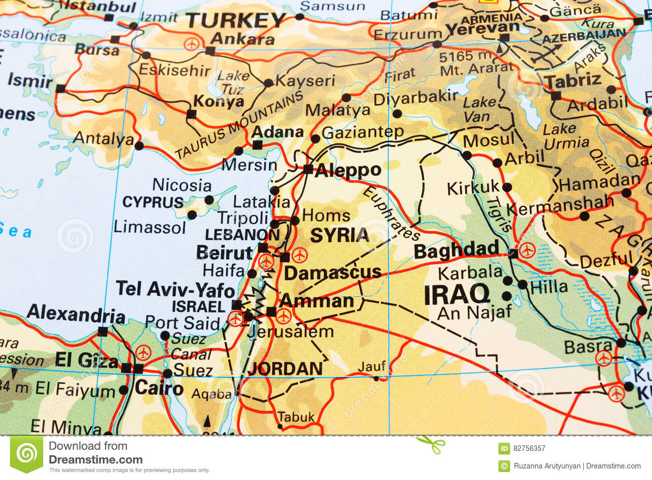 Part Of The World Map Stock Illustration Illustration Of Damascus