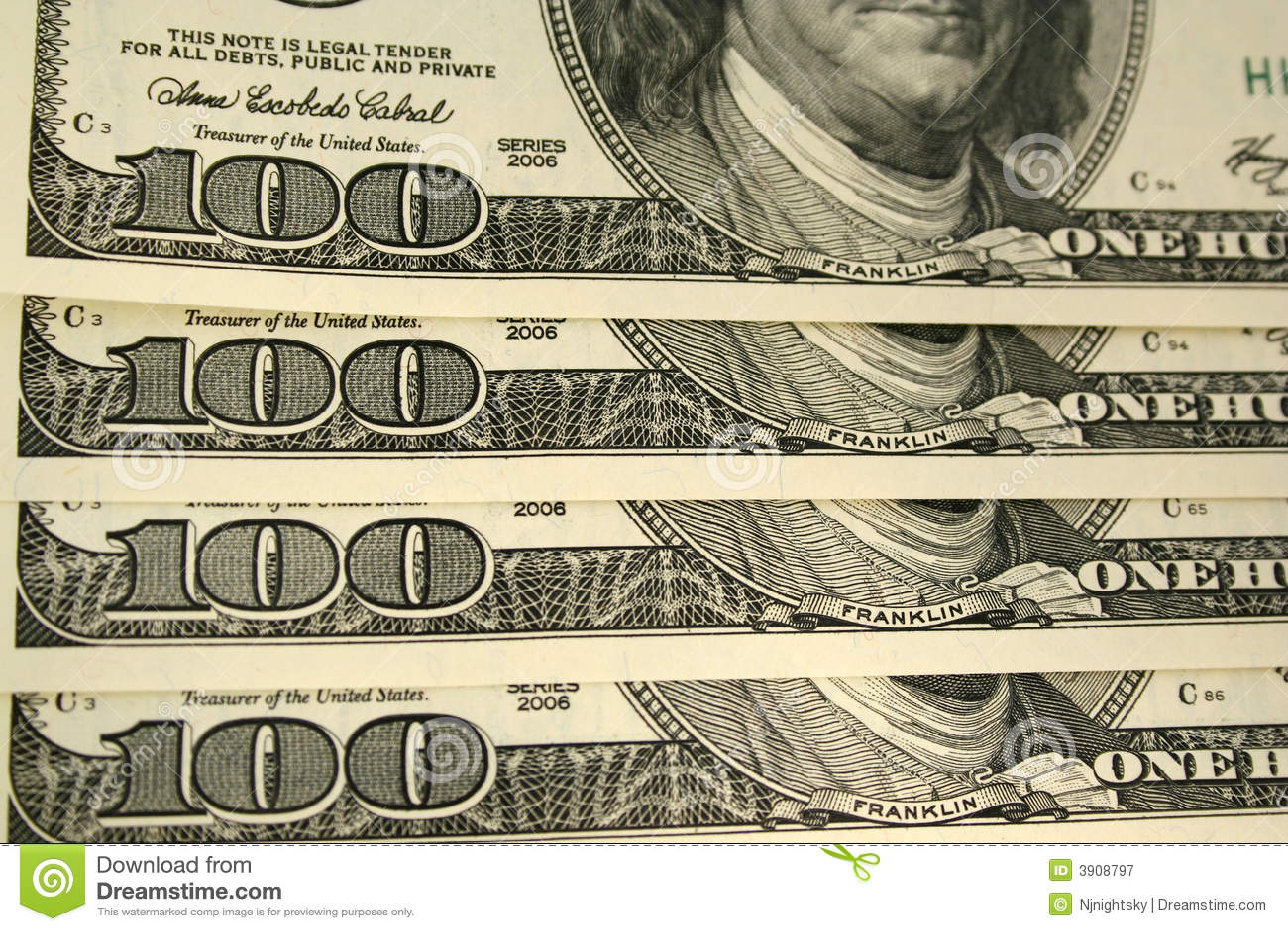 Parte anteriore di cento priorità basse della fattura del dollaro